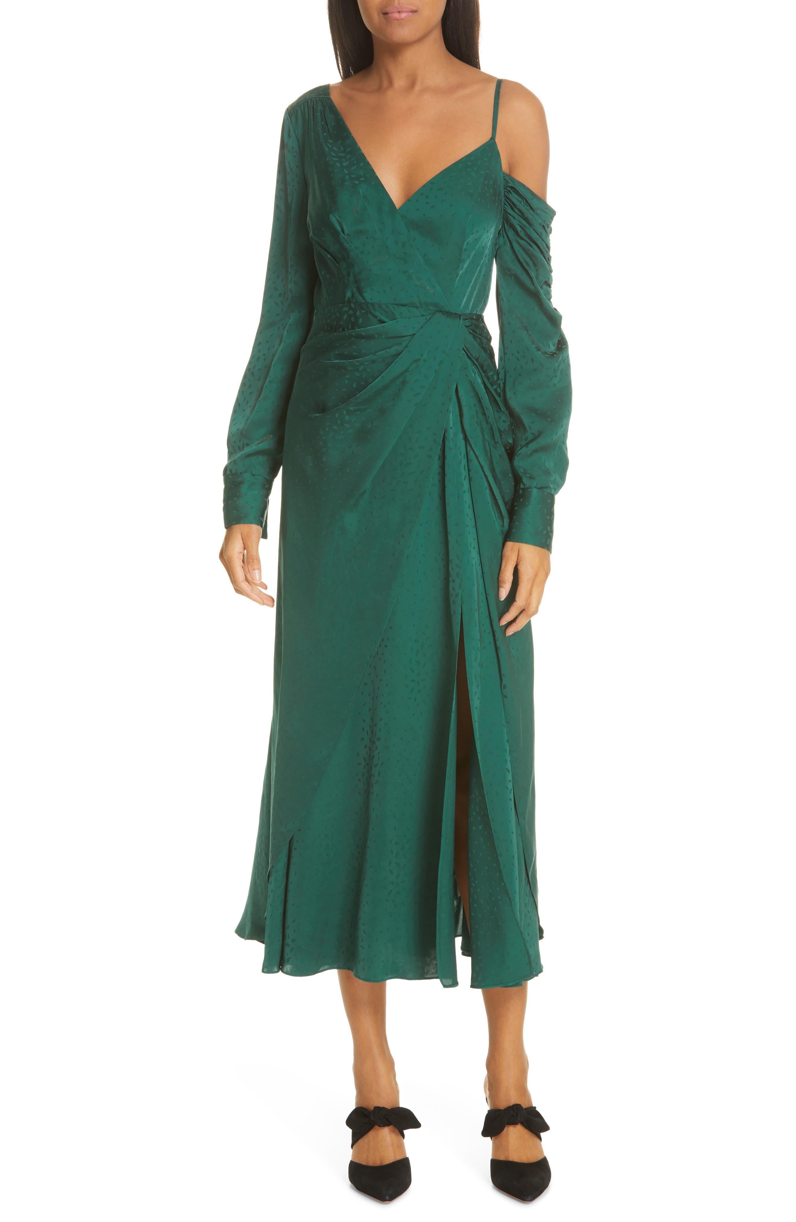 Self-Portrait Asymmetrical Jacquard Dress, Green