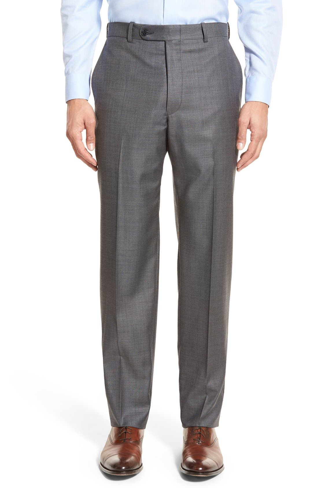 PETER MILLAR, Classic Fit Solid Wool Suit, Alternate thumbnail 8, color, CHARCOAL