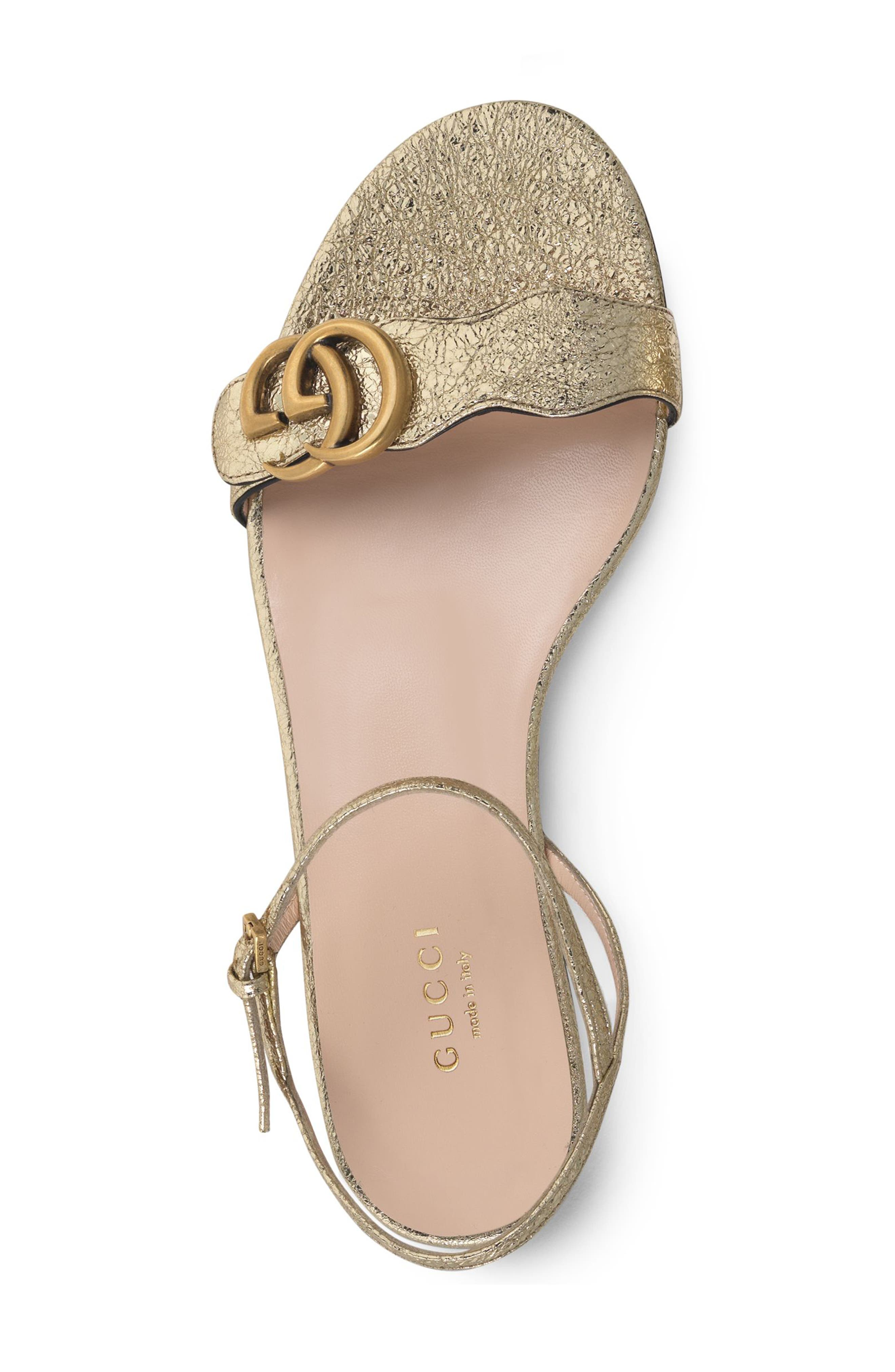GUCCI, Marmont Quarter Strap Flat Sandal, Alternate thumbnail 3, color, PLATINO