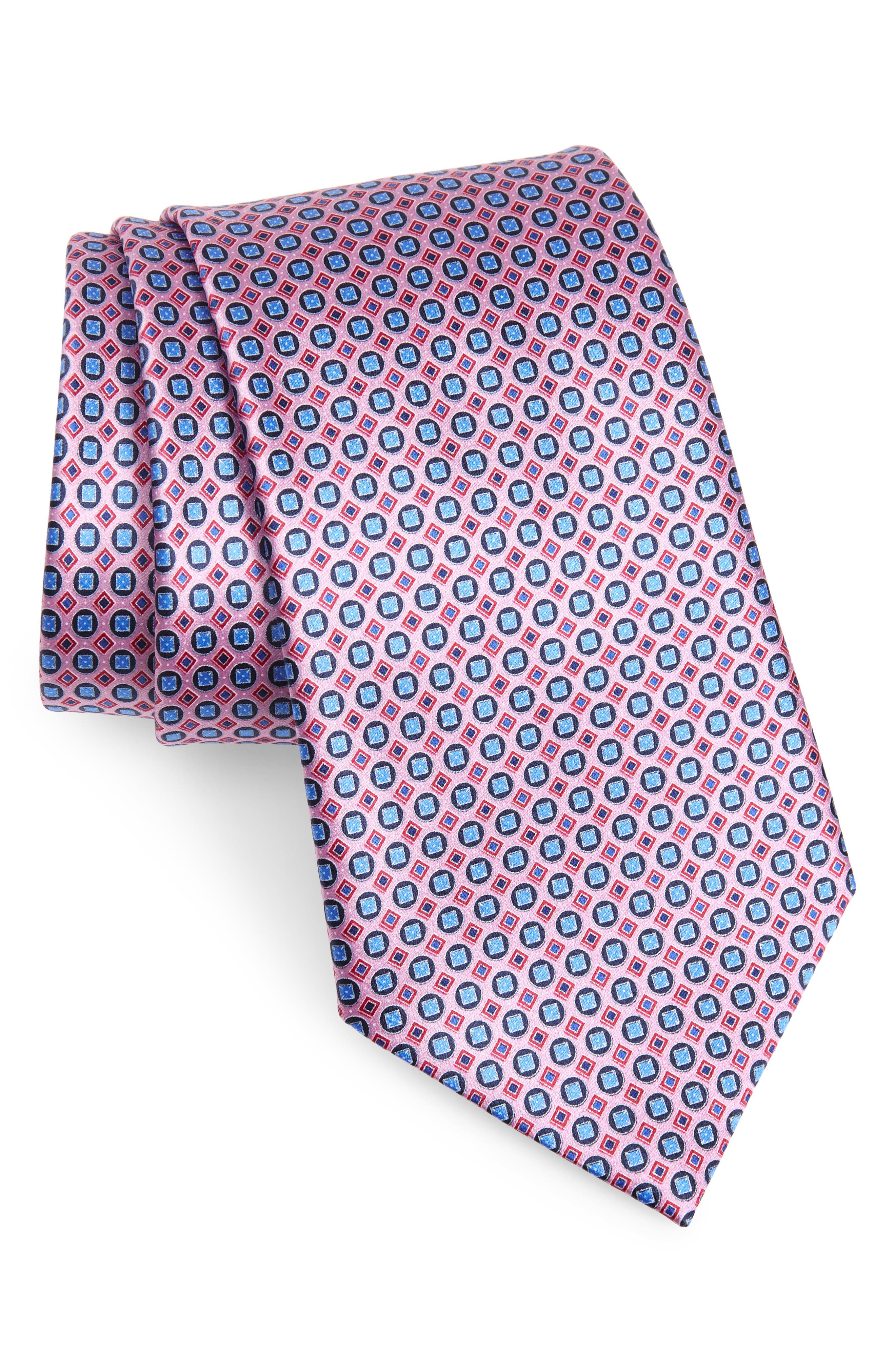 ERMENEGILDO ZEGNA Micro Geo Silk Tie, Main, color, PINK