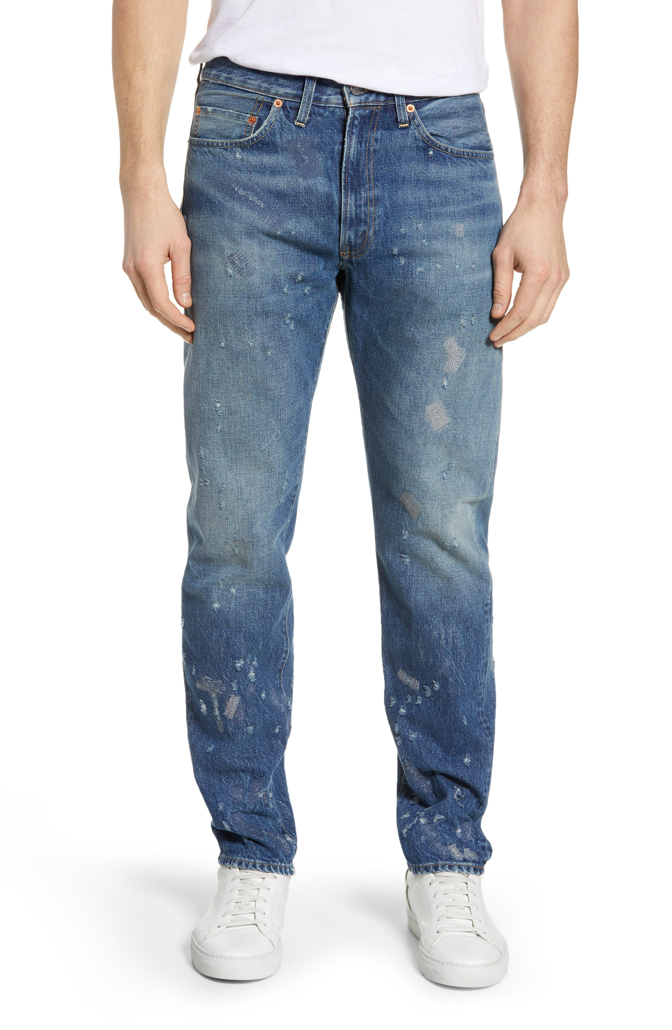 LEVI'S<SUP>®</SUP> VINTAGE CLOTHING, 1954 501<sup>®</sup> Shrink To Fit Straight Leg Jeans, Main thumbnail 1, color, BLACKMON