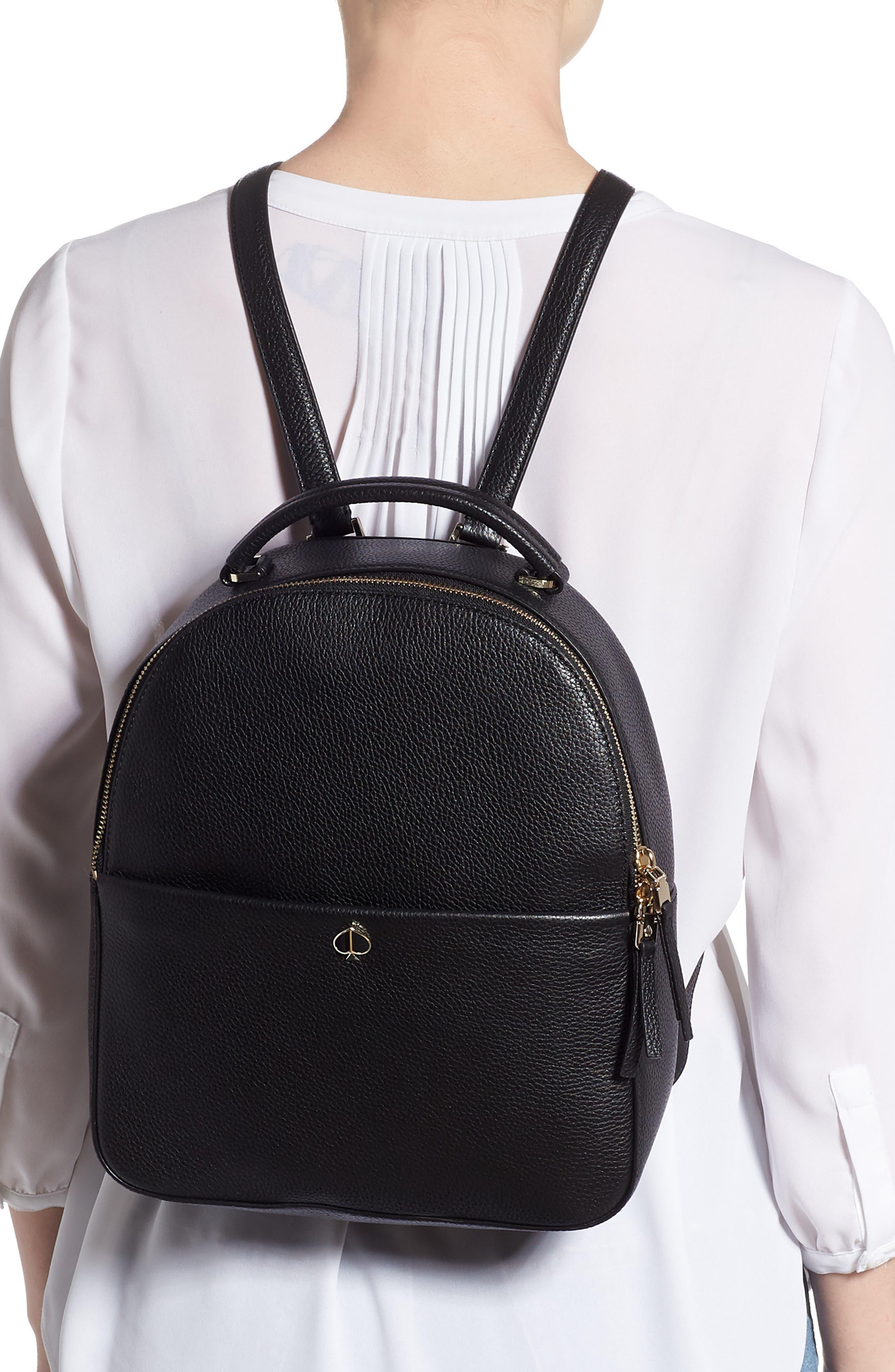 KATE SPADE NEW YORK, medium polly leather backpack, Alternate thumbnail 2, color, BLACK