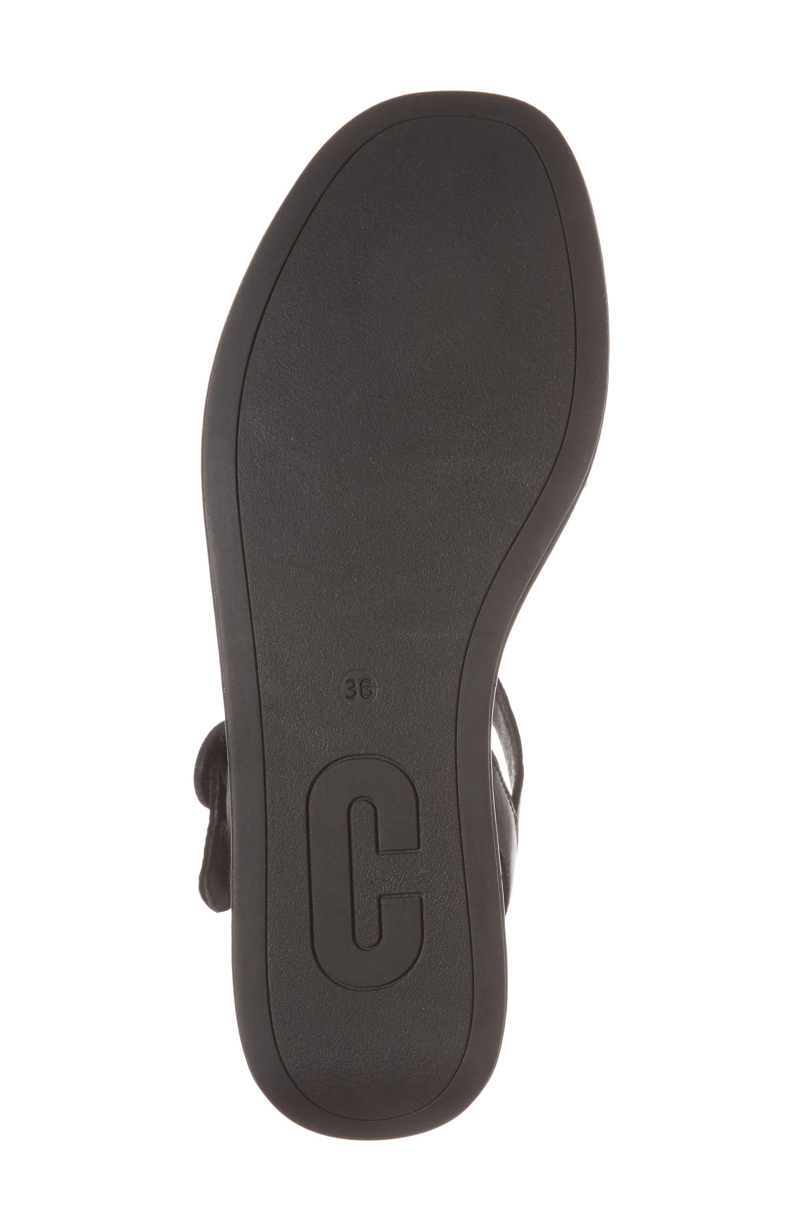 CAMPER, Misia Platform Wedge Sandal, Alternate thumbnail 6, color, BLACK LEATHER
