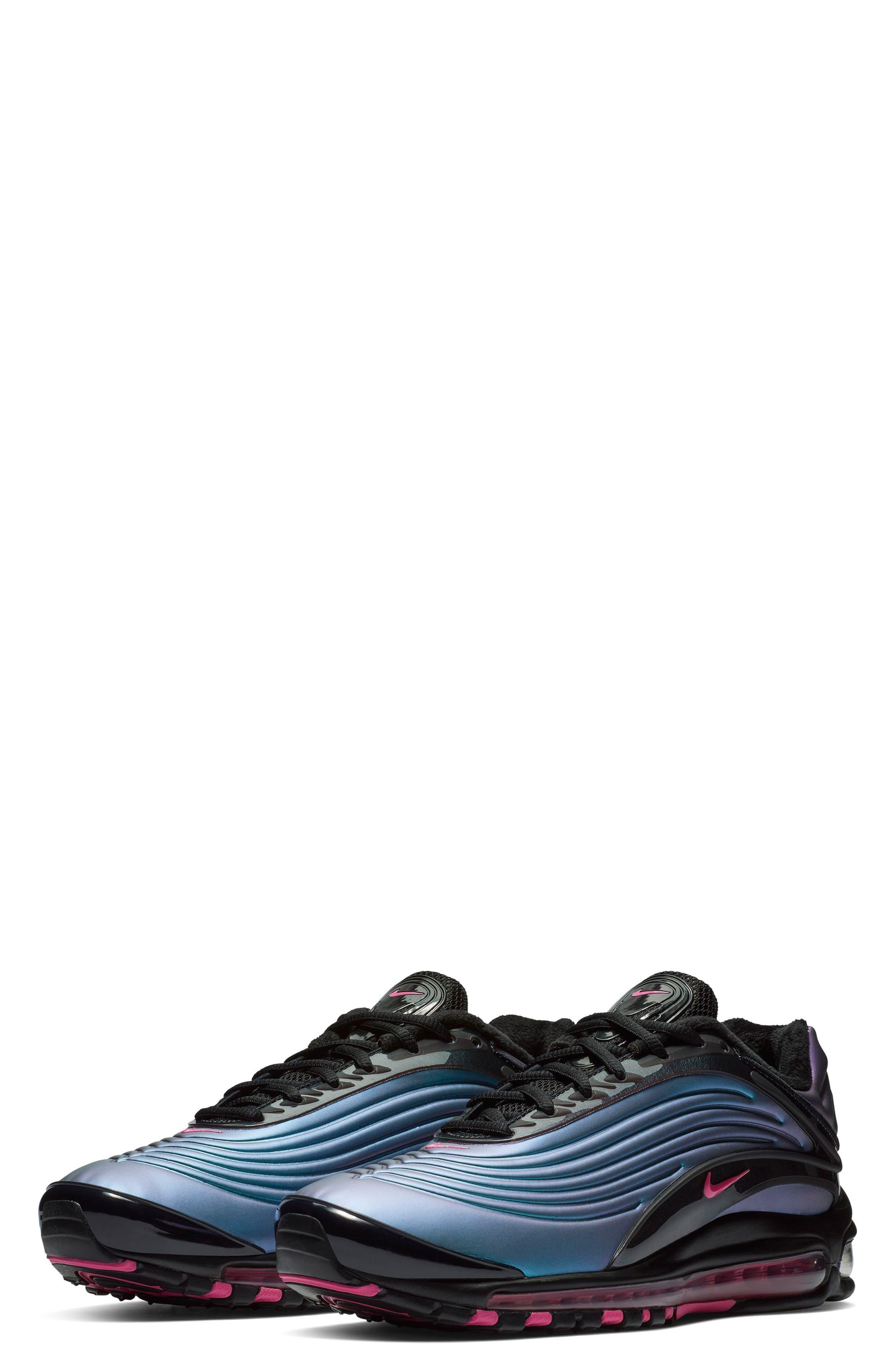 NIKE, Air Max Deluxe Sneaker, Main thumbnail 1, color, BLACK/ LASER FUCHSIA