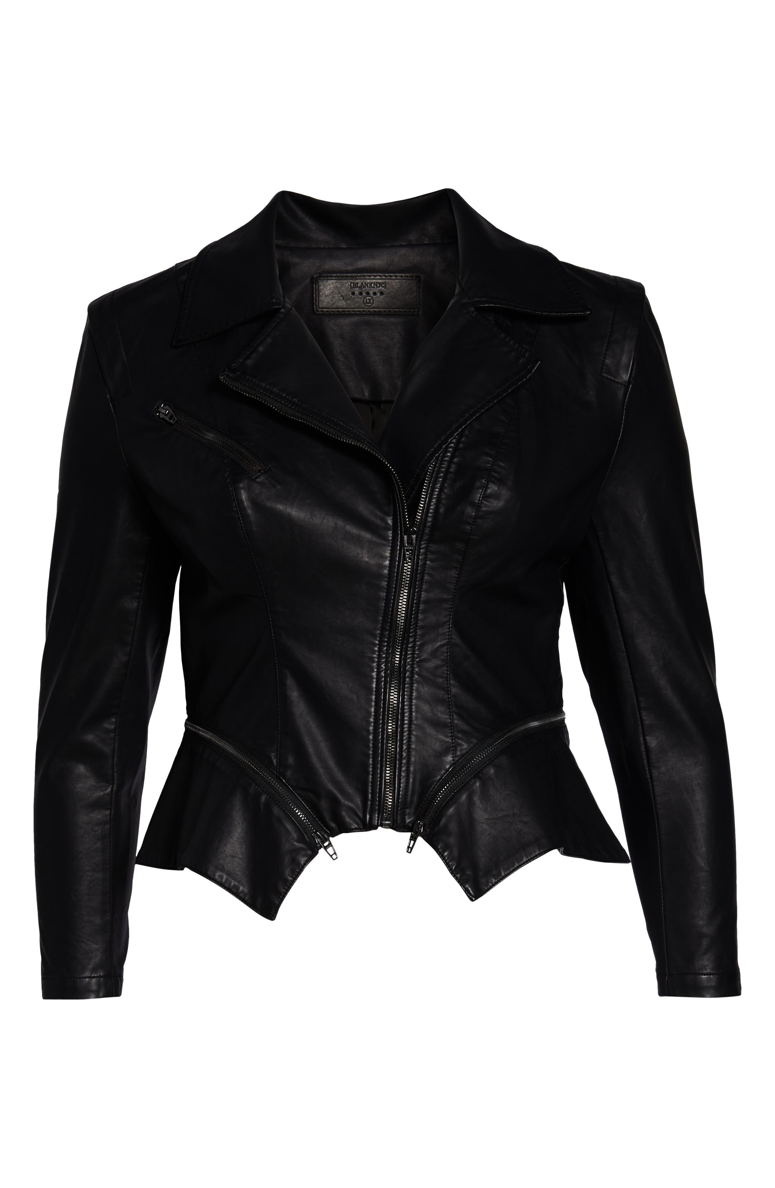 BLANKNYC, Faux Leather Moto Jacket, Alternate thumbnail 7, color, BLACK