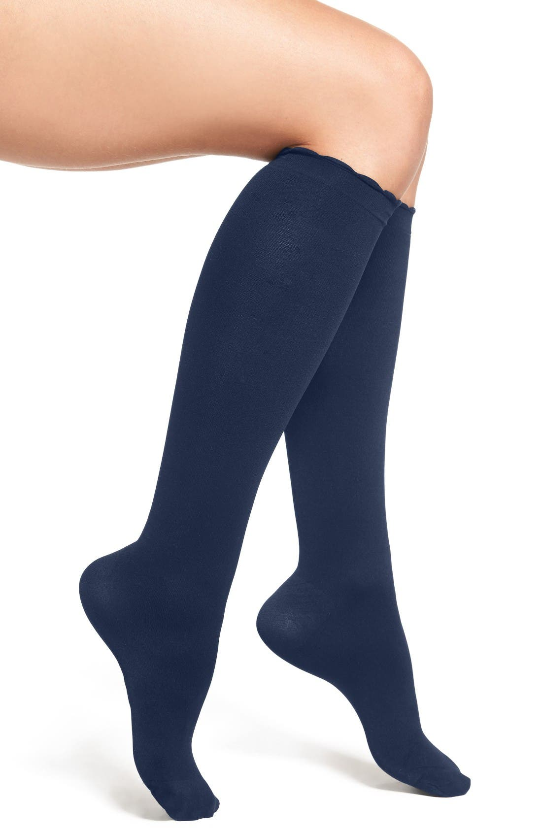 NORDSTROM, Compression Trouser Socks, Main thumbnail 1, color, NAVY