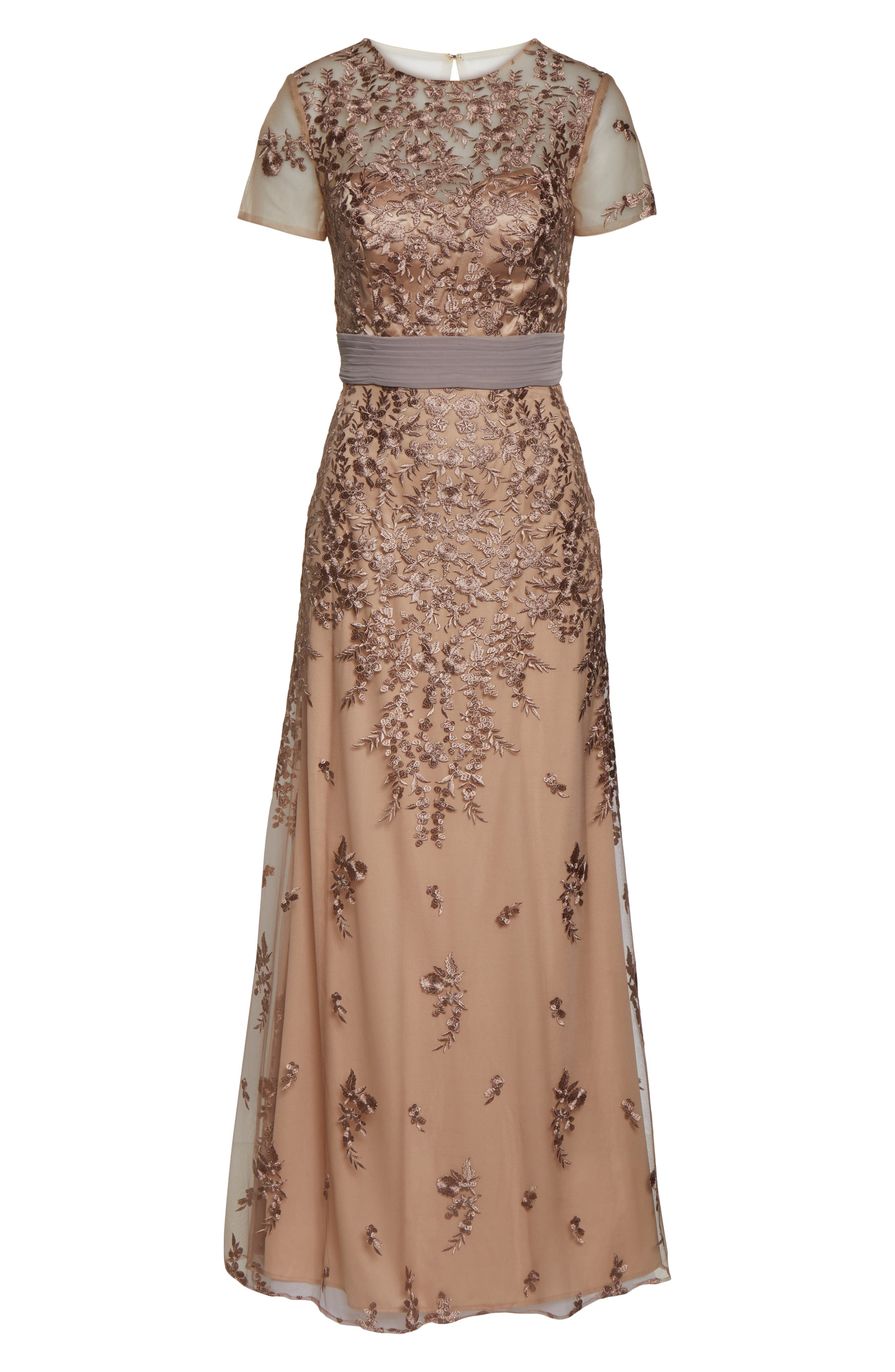 JS COLLECTIONS, Floral Embroidered Evening Dress, Alternate thumbnail 6, color, MAPLE SUGAR