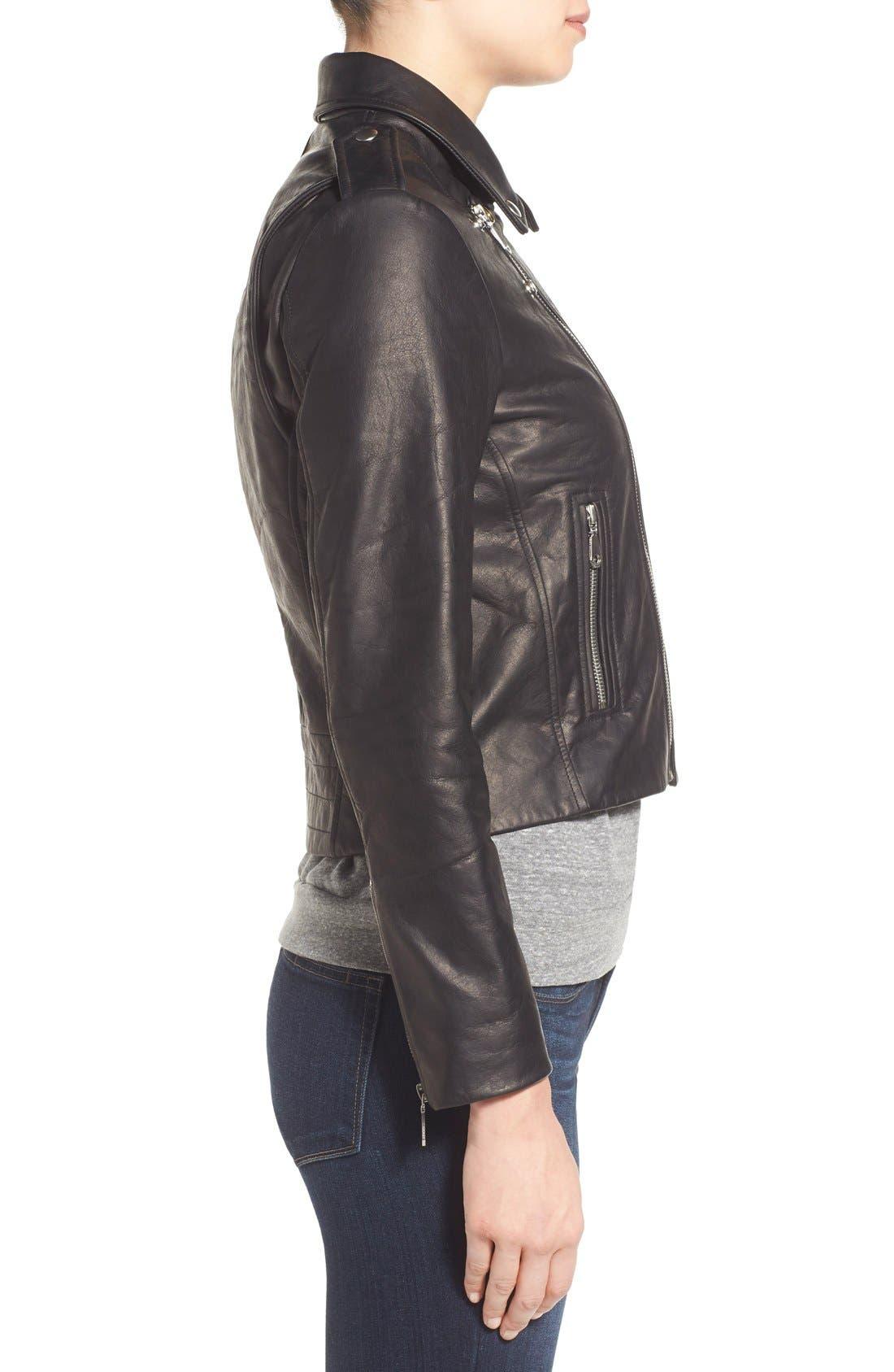 REBECCA MINKOFF, 'Nana' Leather Moto Jacket, Alternate thumbnail 4, color, 001