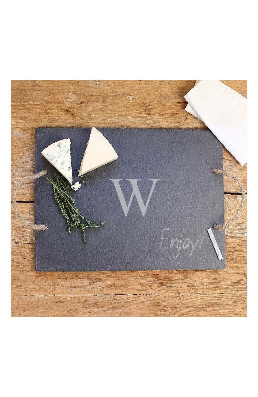 CATHY'S CONCEPTS, Monogram Slate Serving Board, Main thumbnail 1, color, W