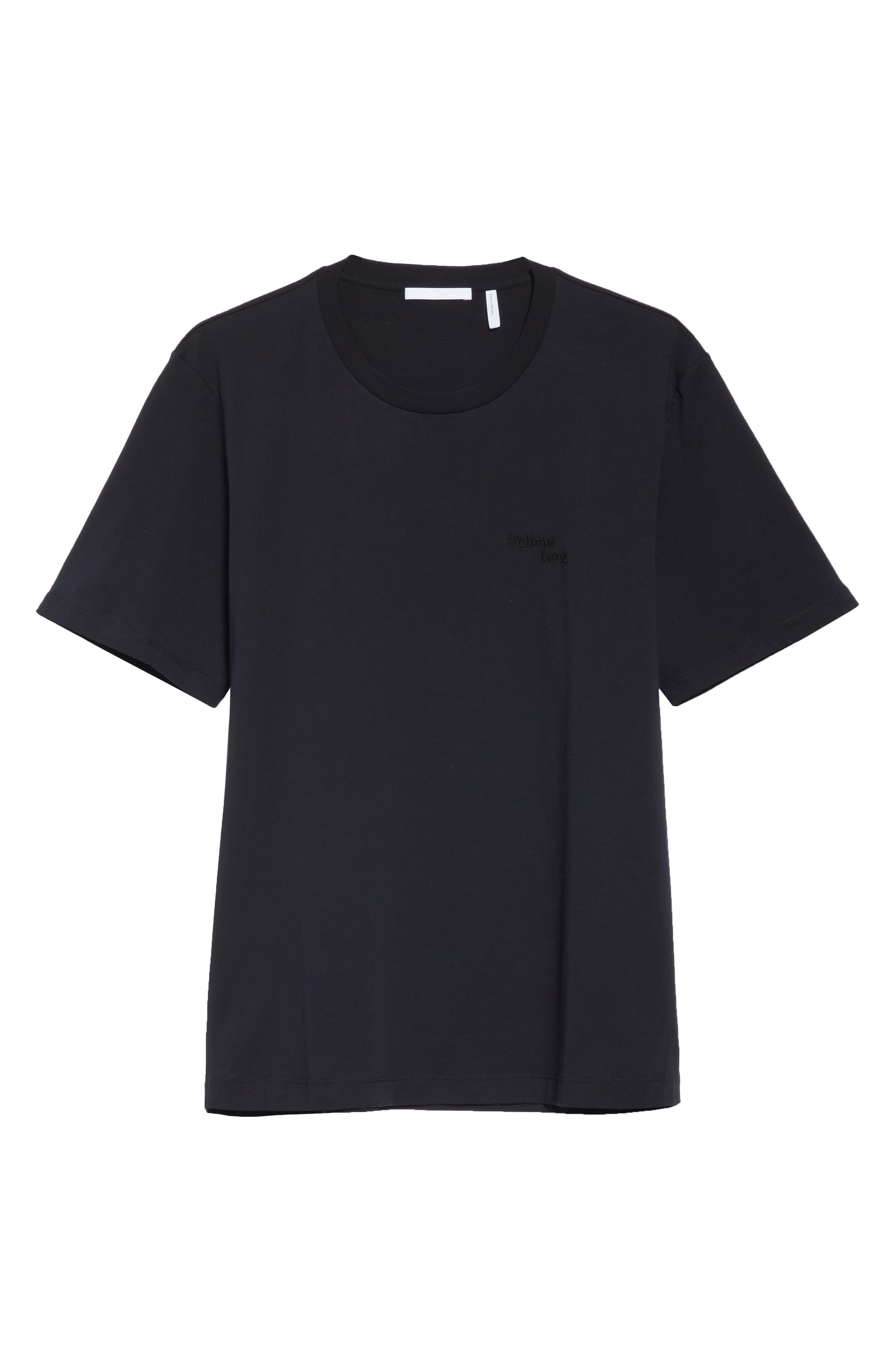 HELMUT LANG, Stacked Logo T-Shirt, Alternate thumbnail 6, color, BLACK BASALT