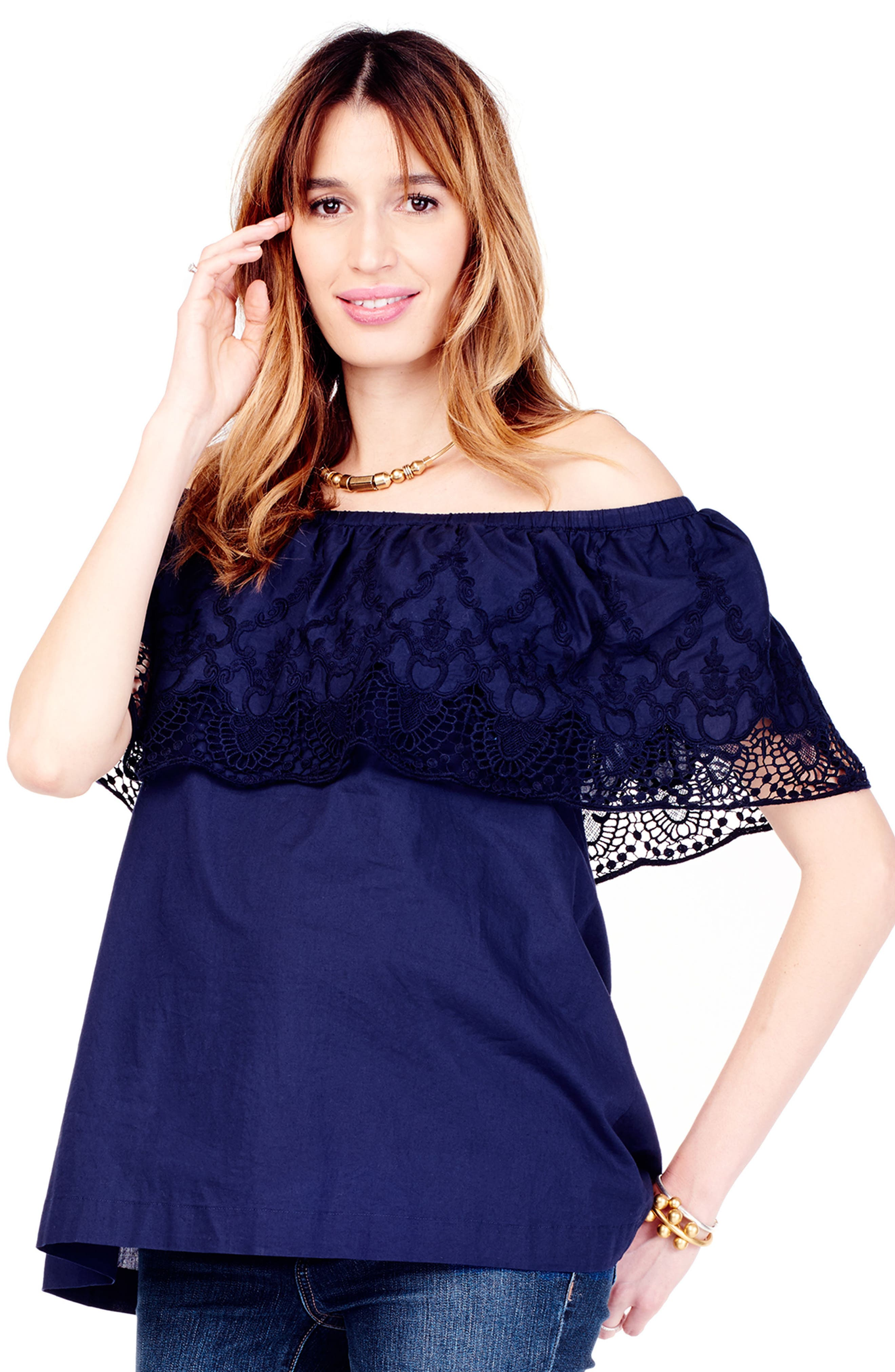 INGRID & ISABEL<SUP>®</SUP>, Lace Off the Shoulder Maternity Top, Main thumbnail 1, color, TRUE NAVY