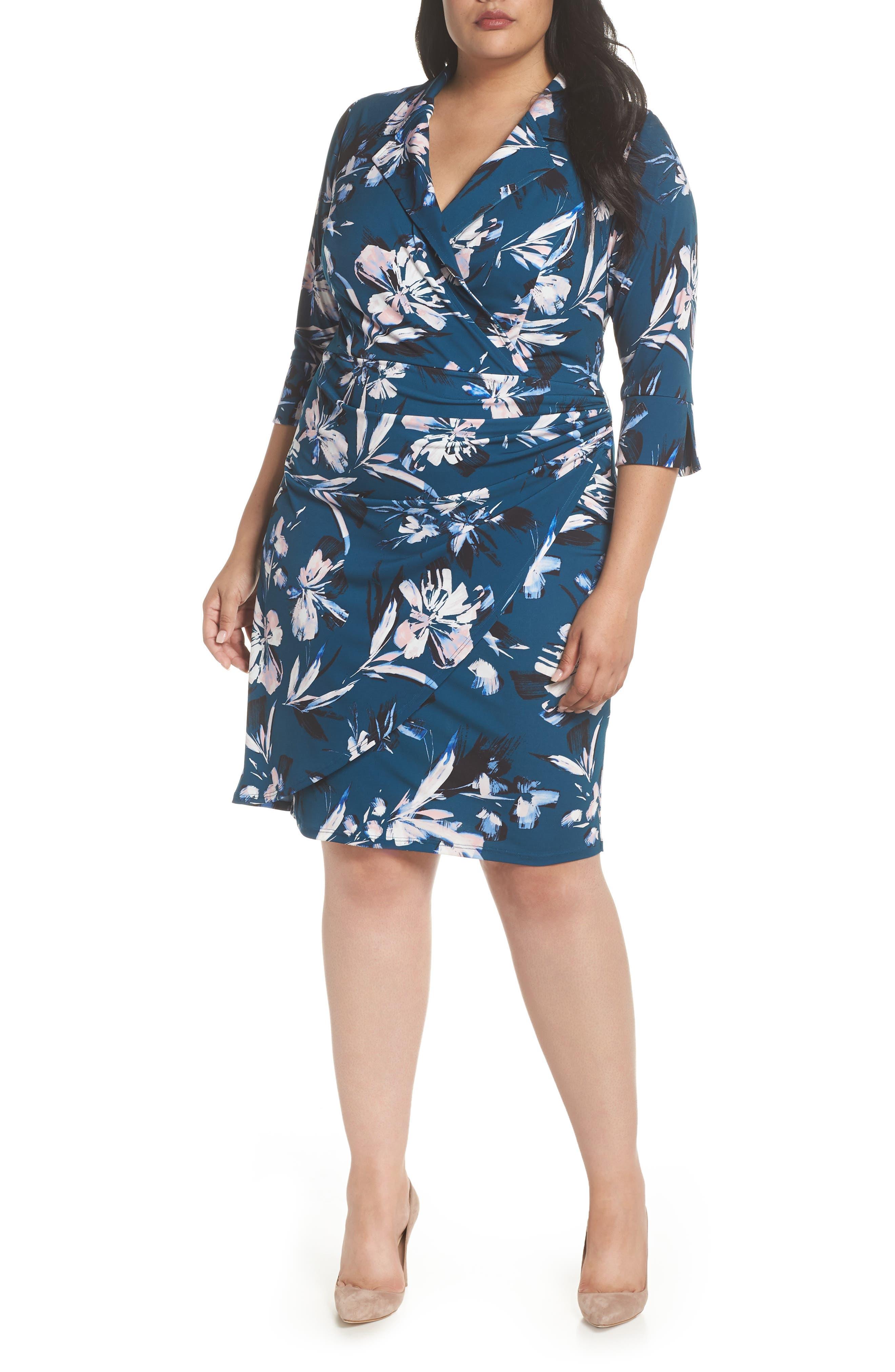 ELIZA J, Faux Wrap Floral Shirtdress, Main thumbnail 1, color, GREEN