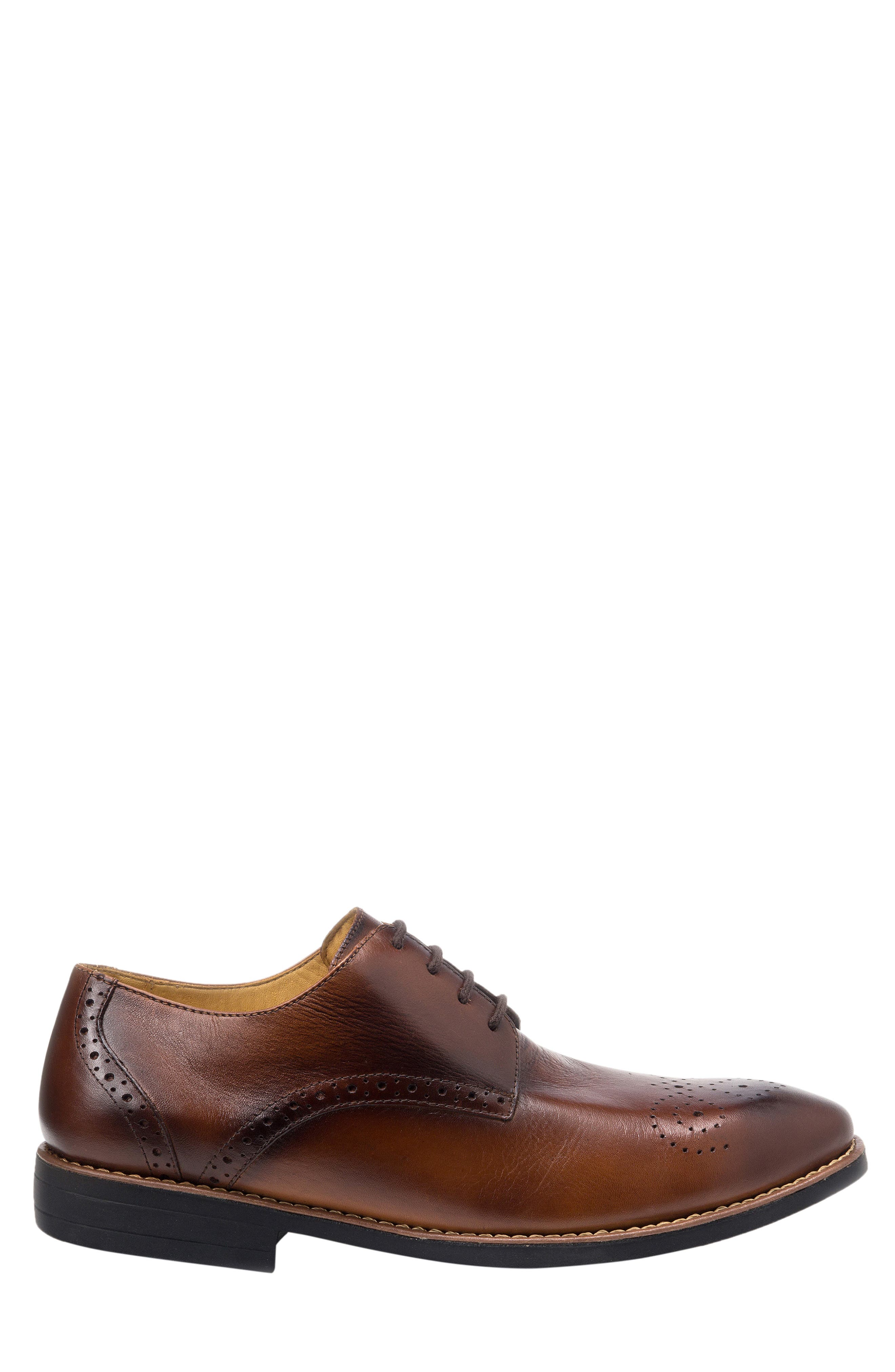 SANDRO MOSCOLONI, Mended Medallion Toe Derby, Alternate thumbnail 3, color, BROWN LEATHER