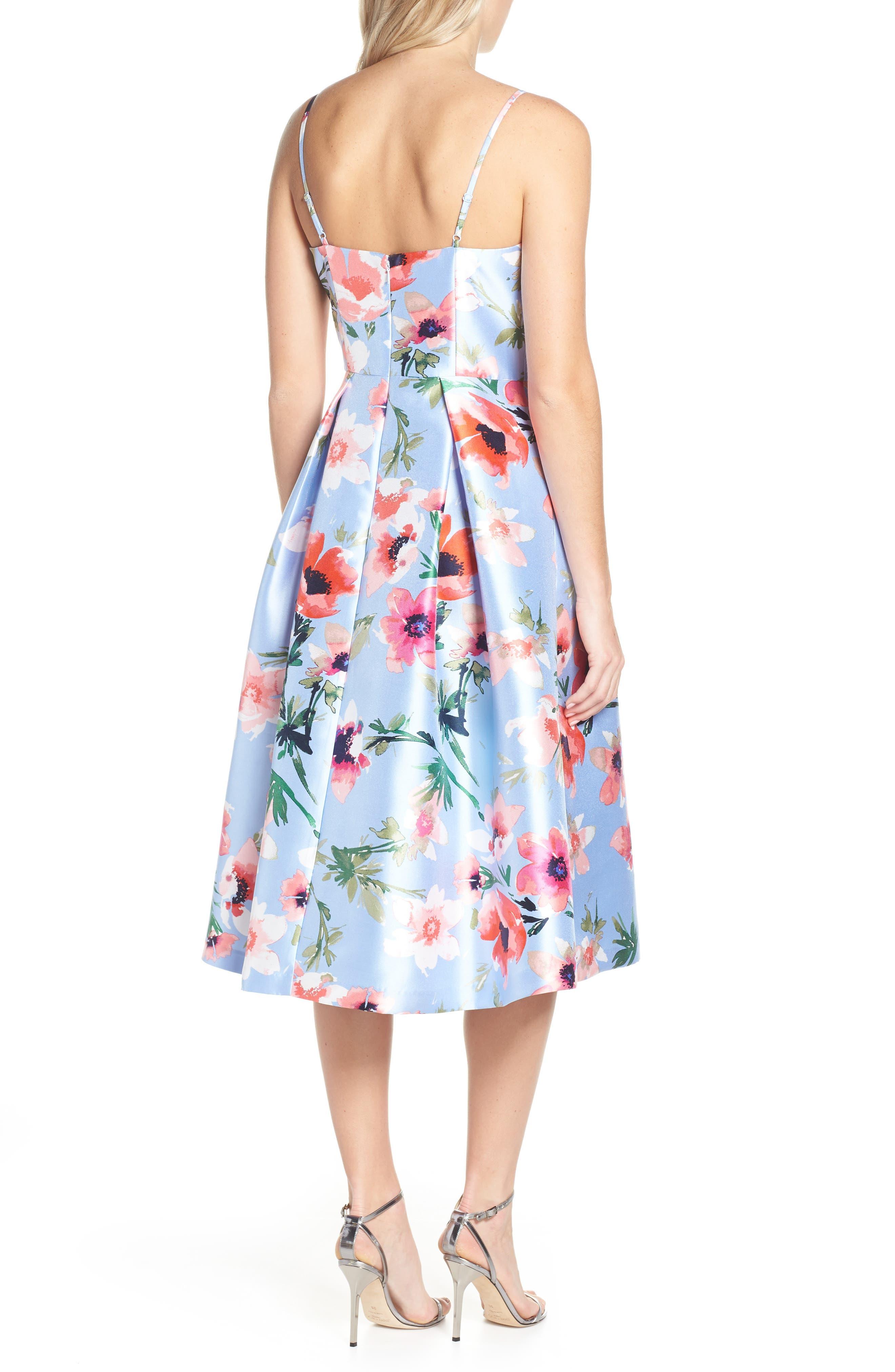 ELIZA J, Floral Print Satin Cocktail Dress, Alternate thumbnail 2, color, BLUE