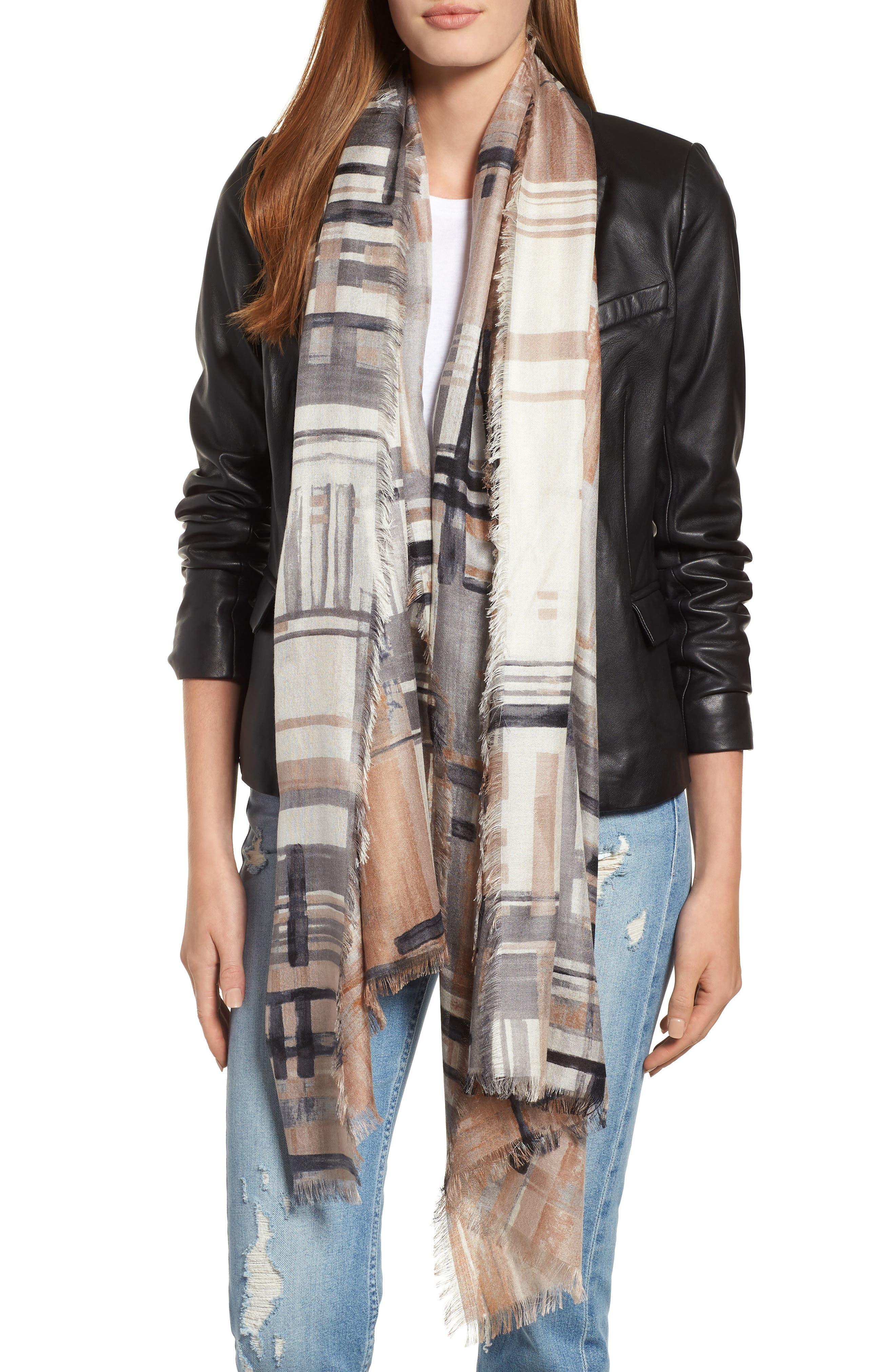 NORDSTROM Eyelash Trim Print Cashmere & Silk Wrap, Main, color, 001