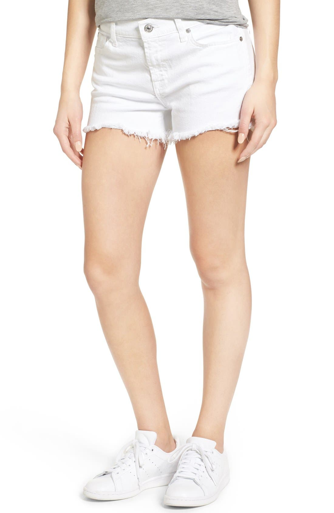 7 FOR ALL MANKIND<SUP>®</SUP>, Cutoff Denim Shorts, Alternate thumbnail 8, color, CLEAN WHITE