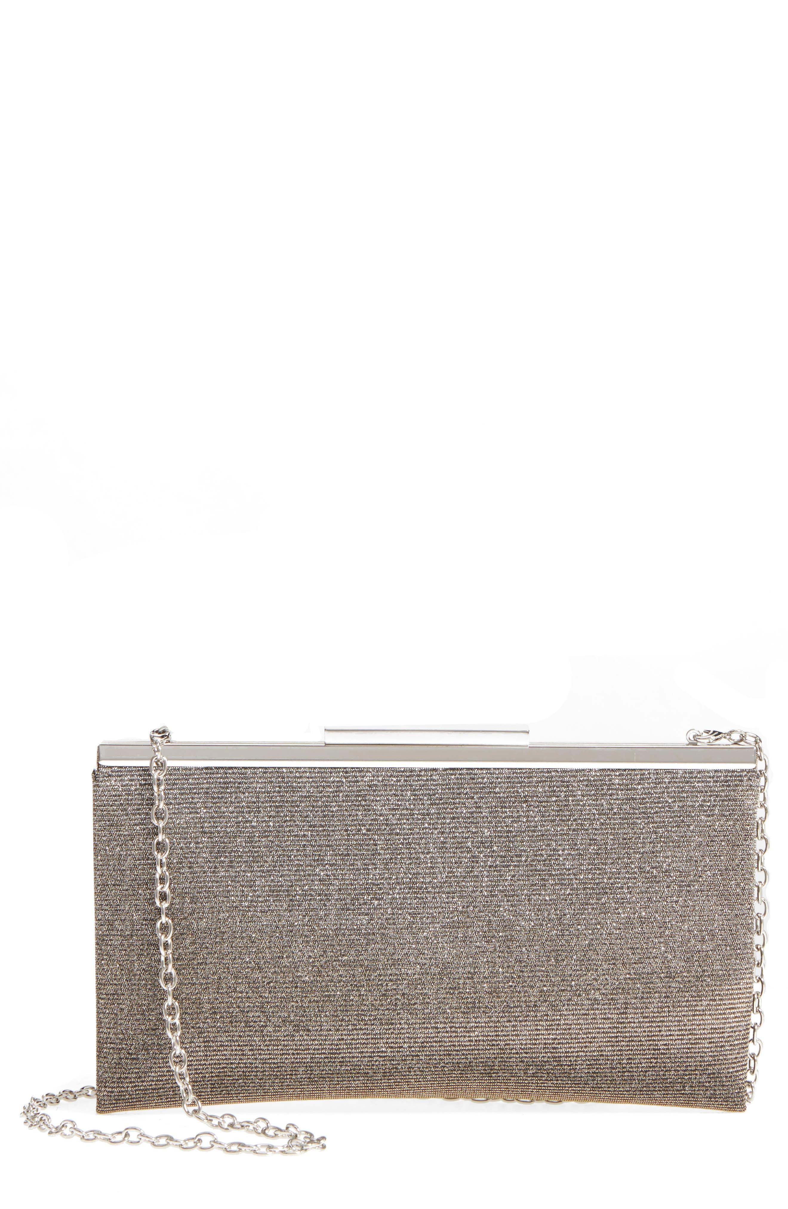 NORDSTROM Glitter Clutch, Main, color, PEWTER