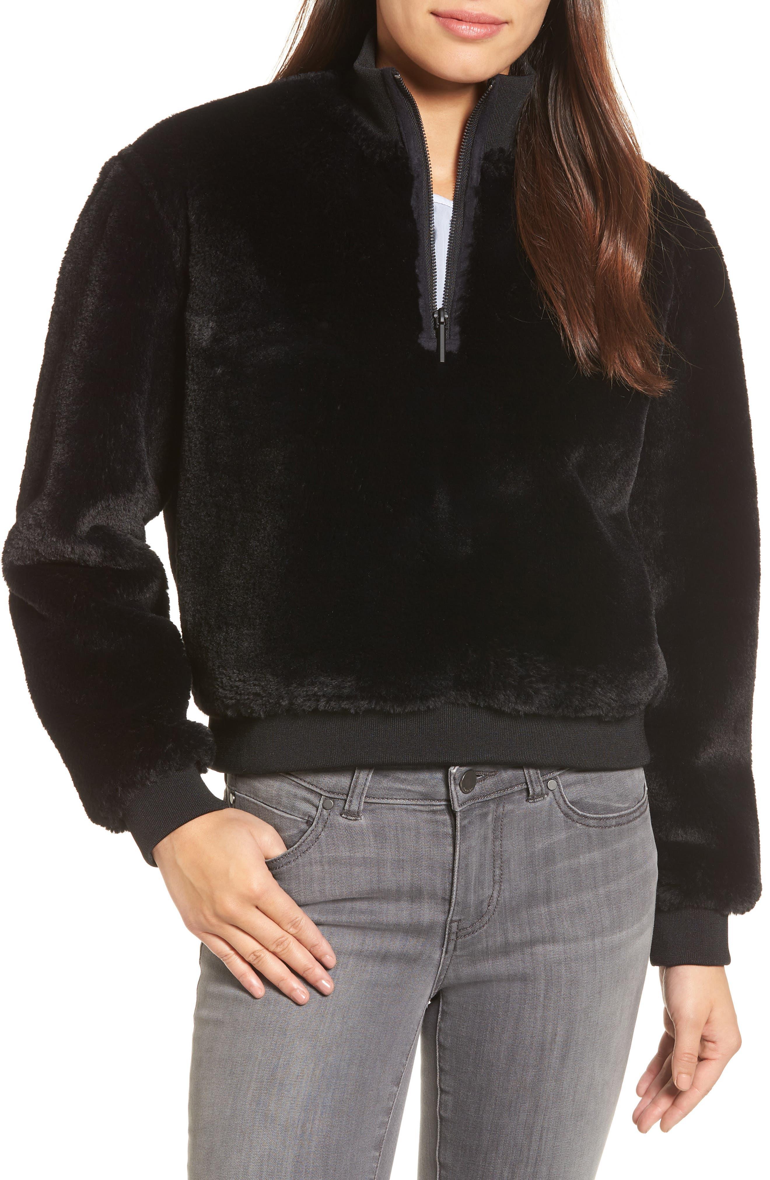 KENNETH COLE NEW YORK, Half-Zip Faux Fur Sweatshirt, Main thumbnail 1, color, BLACK