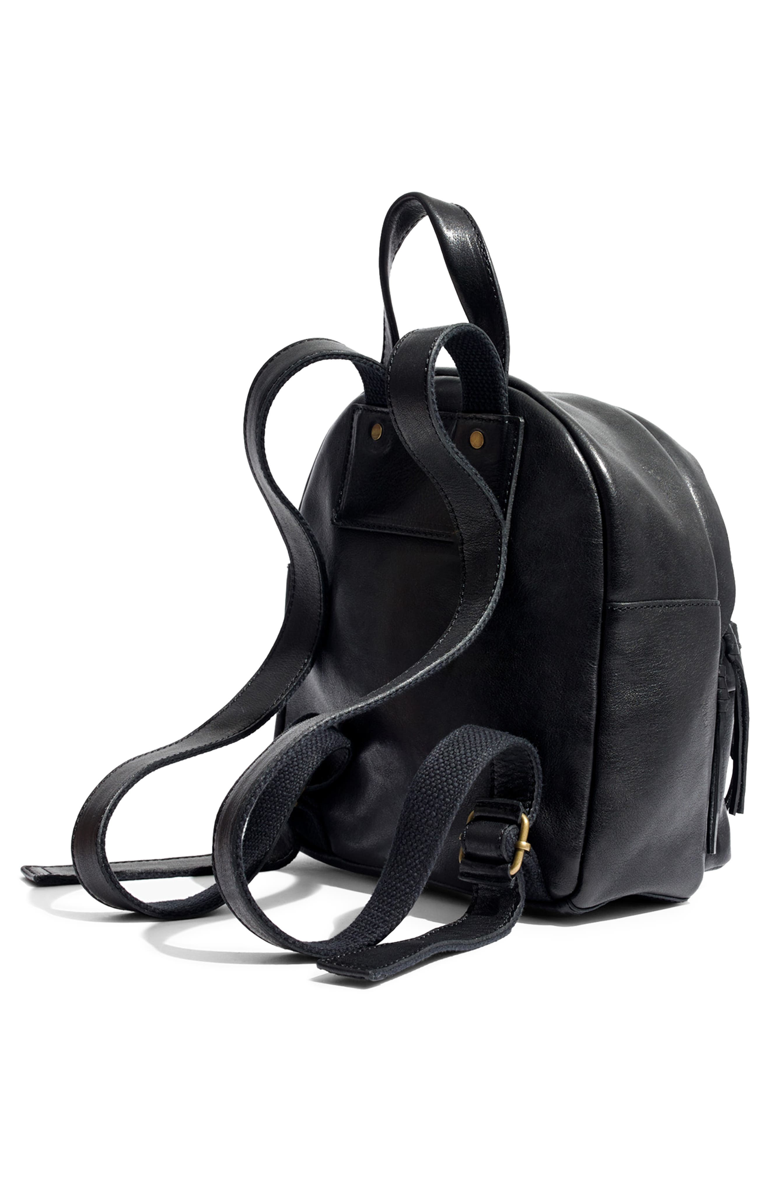 MADEWELL, Mini Lorimer Leather Backpack, Alternate thumbnail 6, color, TRUE BLACK