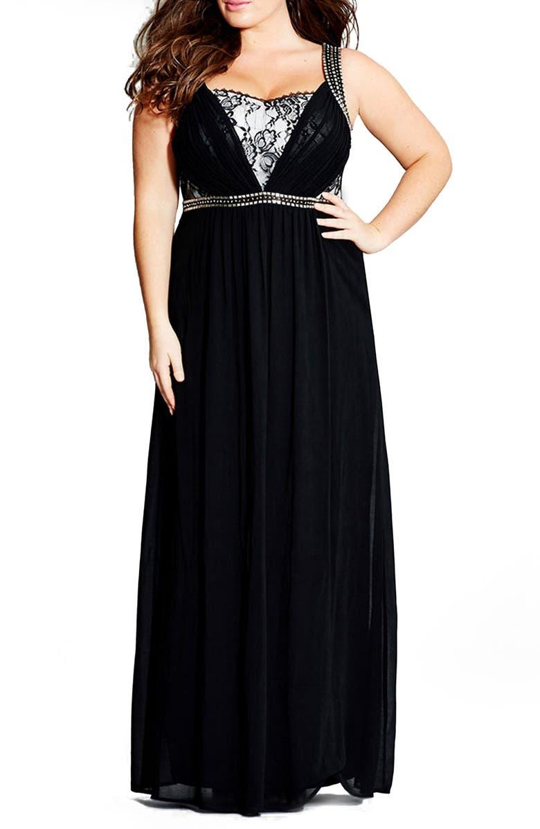 62cdfaac2b2ce7 City Chic 'Love Lace Trim' Maxi Dress (Plus Size)   Nordstrom