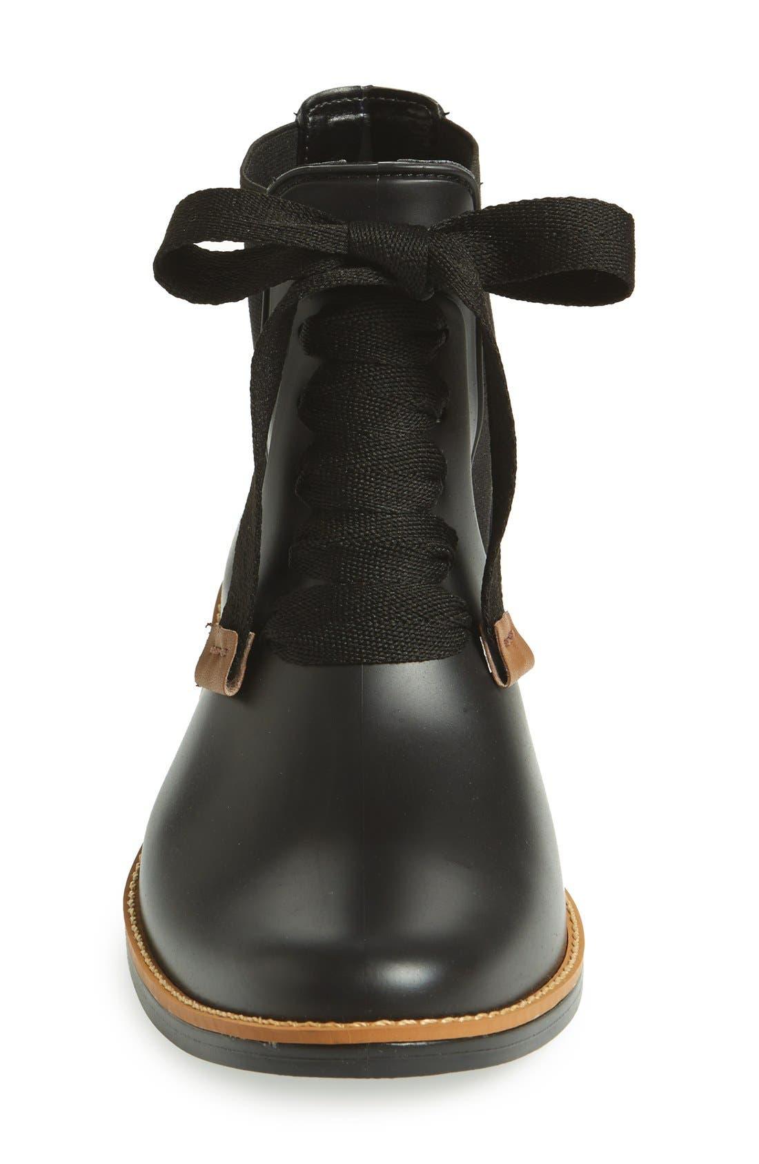 BERNARDO, Lacey Short Waterproof Rain Boot, Alternate thumbnail 3, color, 001