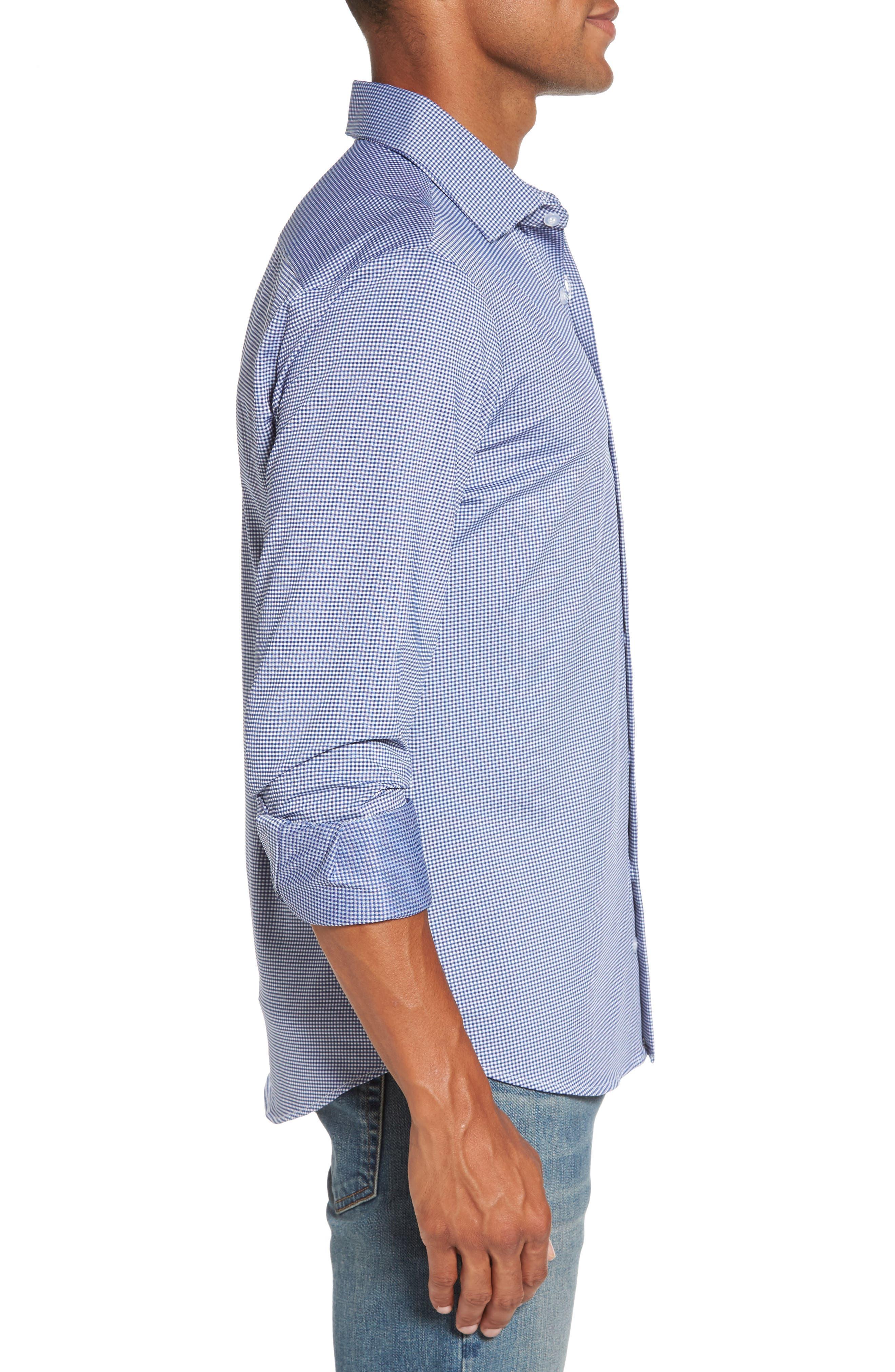 MIZZEN+MAIN, Beckett Trim Fit Gingham Sport Shirt, Alternate thumbnail 3, color, BLUE