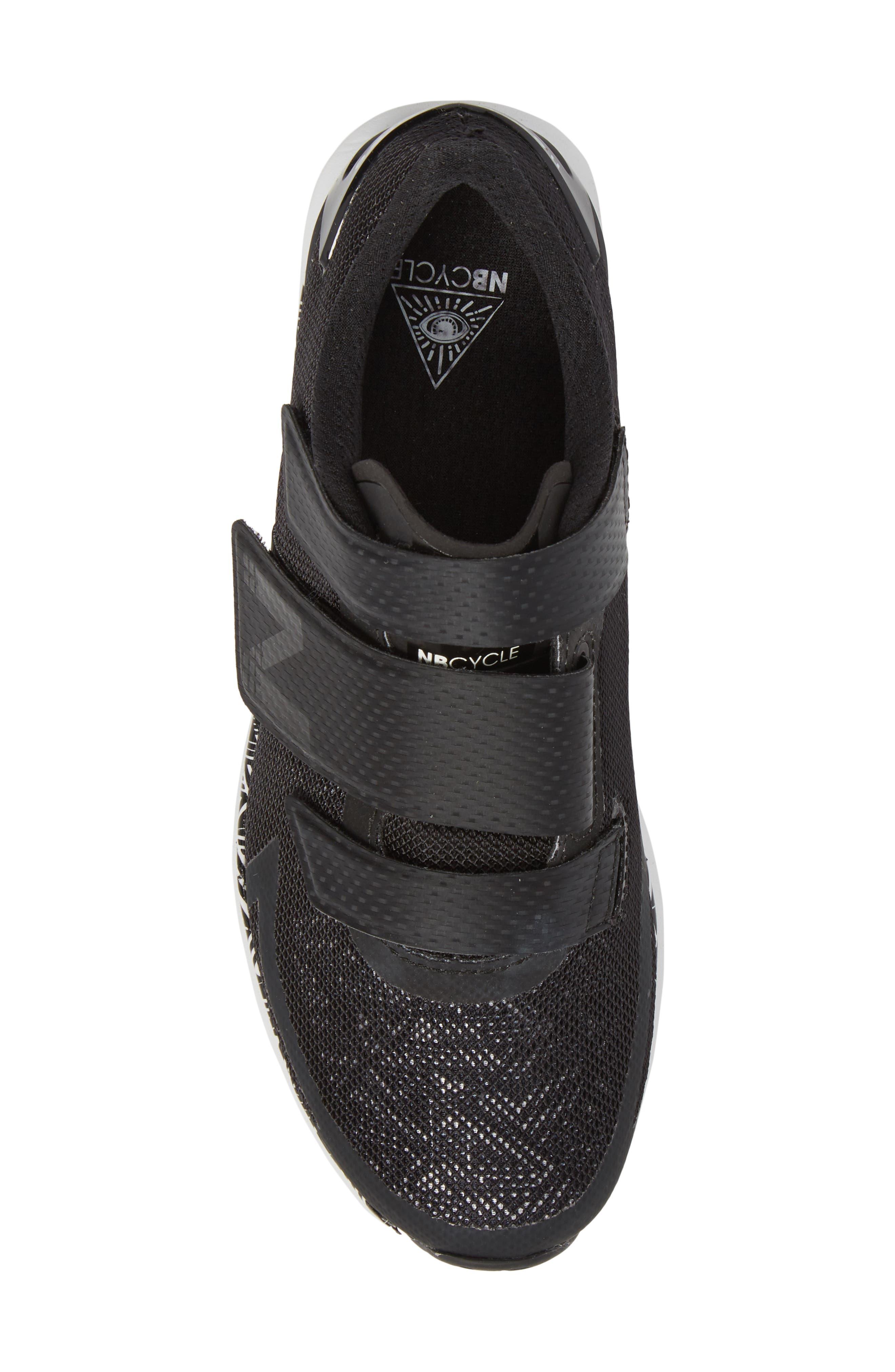 NEW BALANCE, Spin 09 Cycling Shoe, Alternate thumbnail 5, color, BLACK/ WHITE