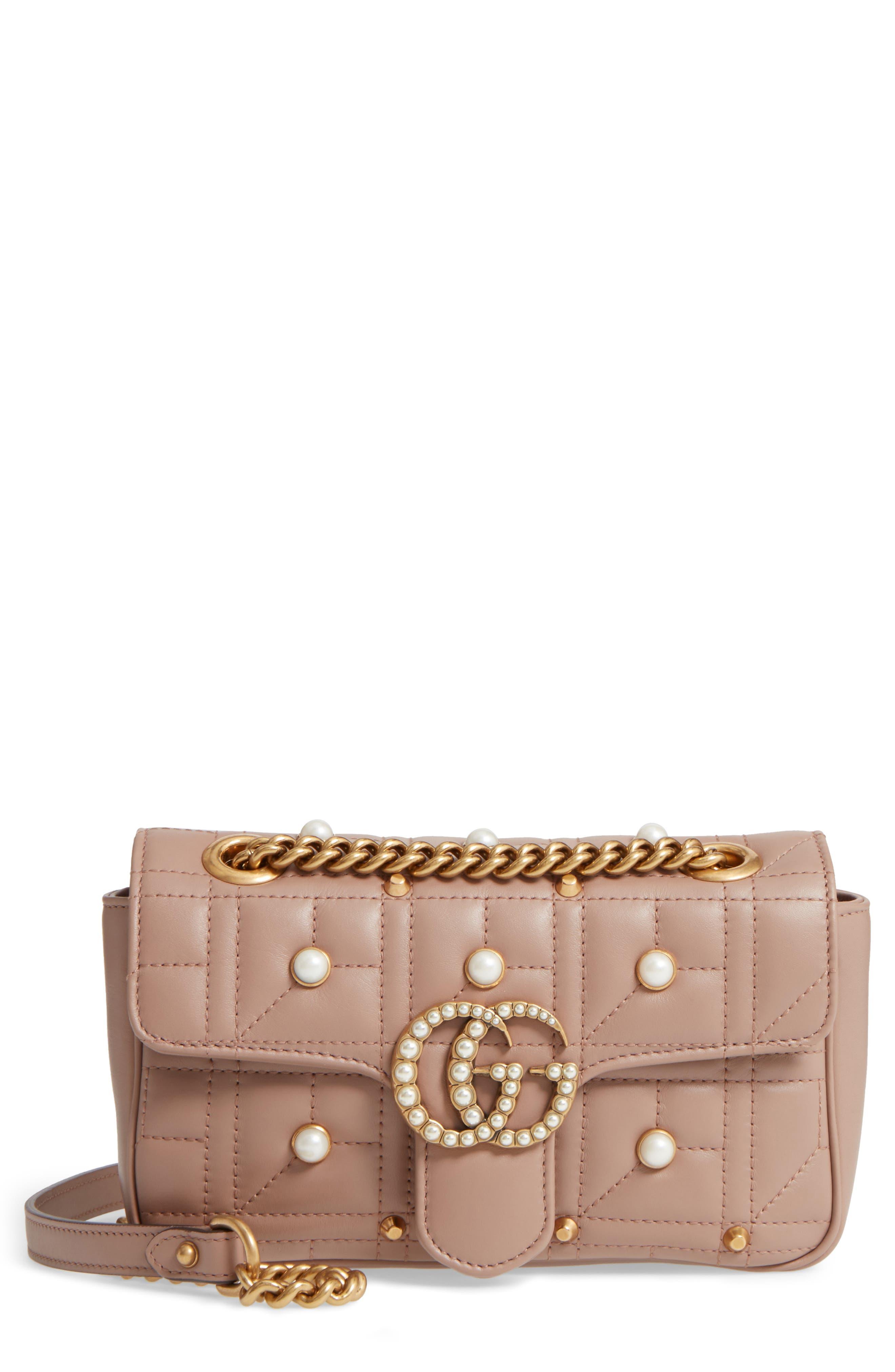 GUCCI, Mini GG Marmont 2.0 Imitation Pearl Logo Matelassé Leather Shoulder Bag, Main thumbnail 1, color, 651