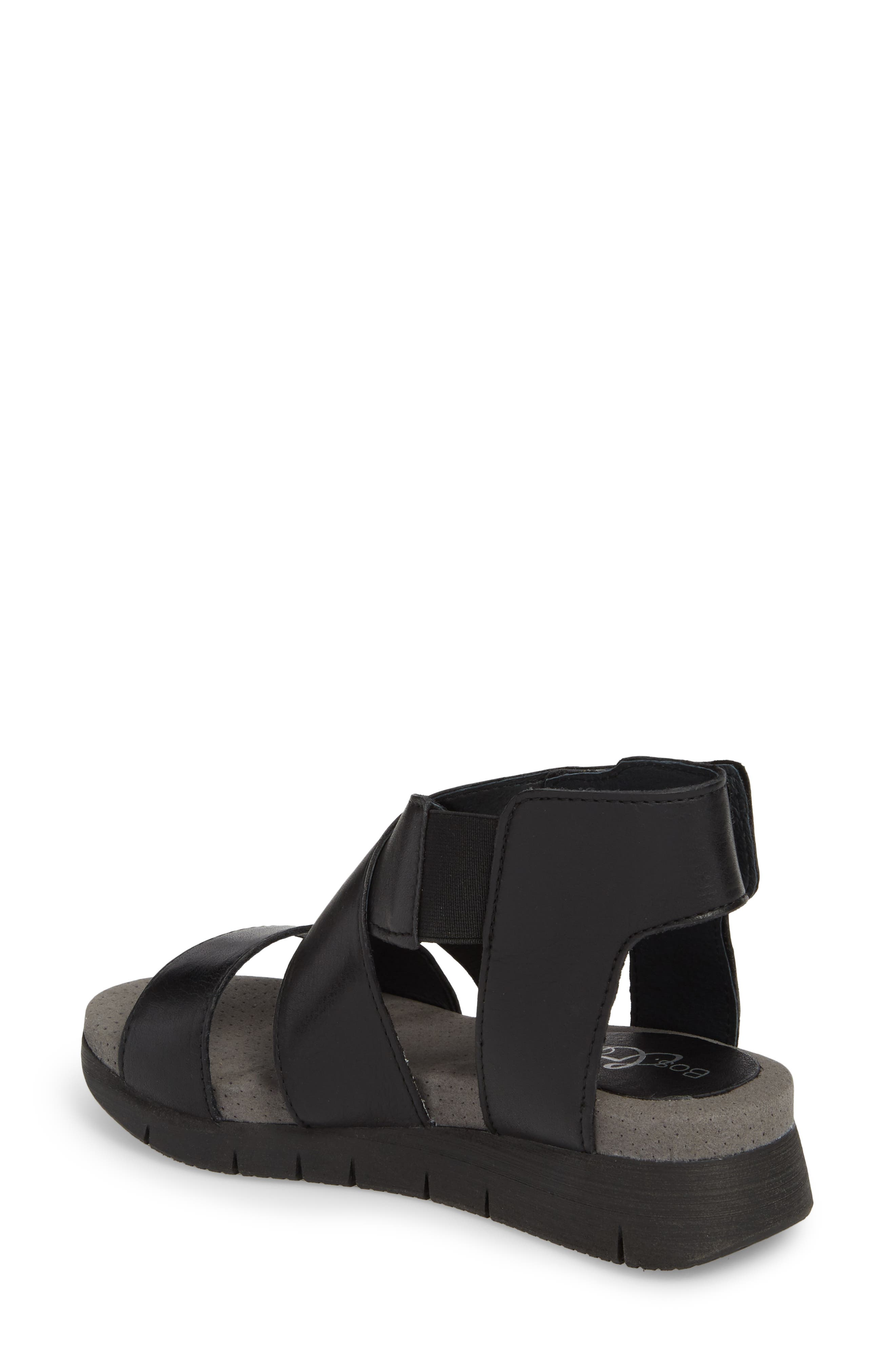 BOS. & CO., Piper Wedge Sandal, Alternate thumbnail 2, color, BLACK SAUVAGE LEATHER