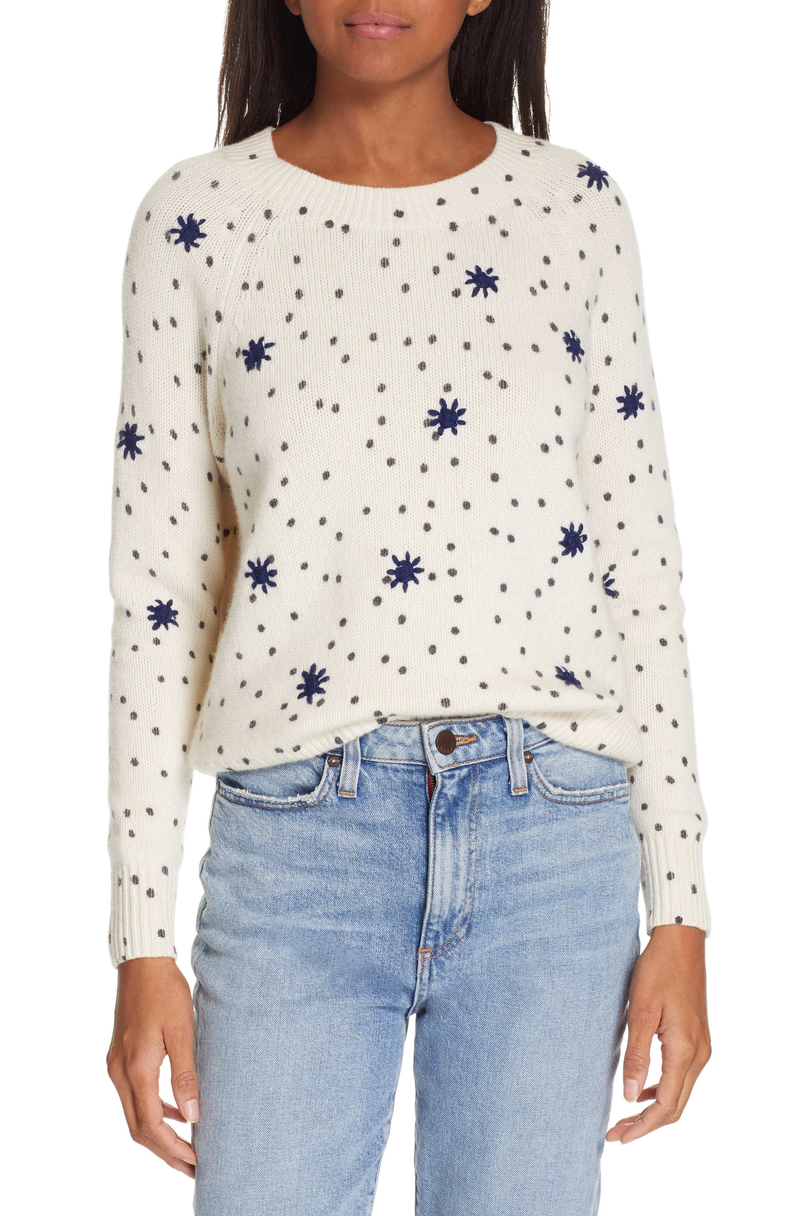 La Vie Rebecca Taylor Embroidered Dot Wool Blend Sweater, Ivory