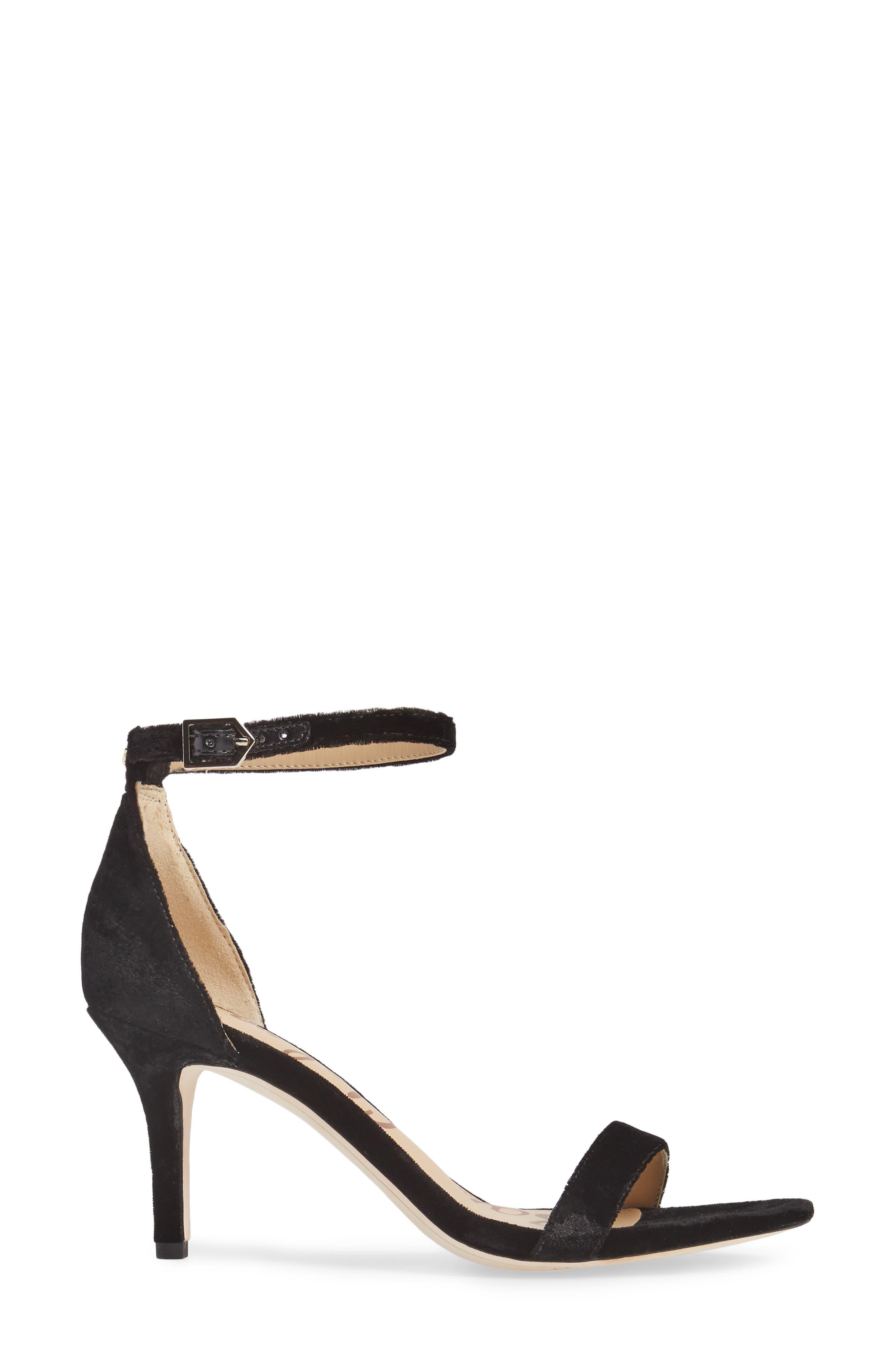 SAM EDELMAN, 'Patti' Ankle Strap Sandal, Alternate thumbnail 3, color, BLACK VELVET