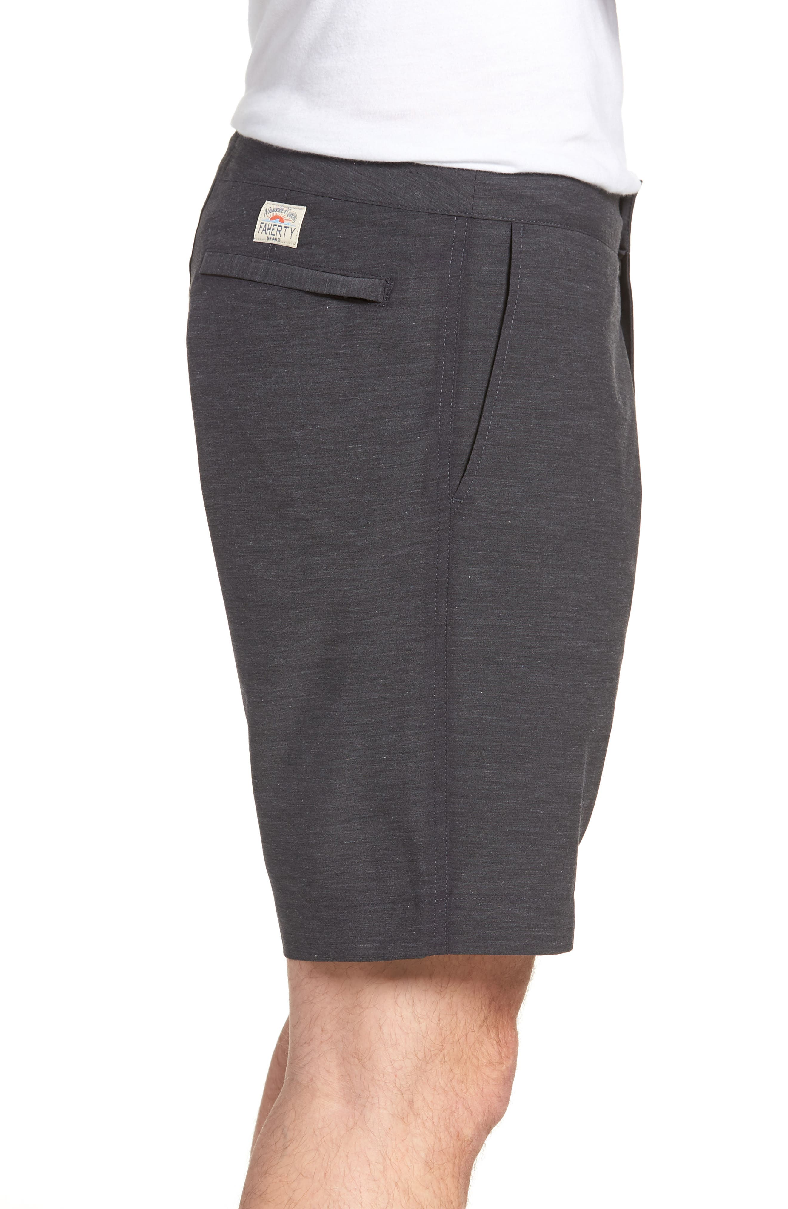 FAHERTY, All Day Flat Front Shorts, Alternate thumbnail 3, color, CHARCOAL