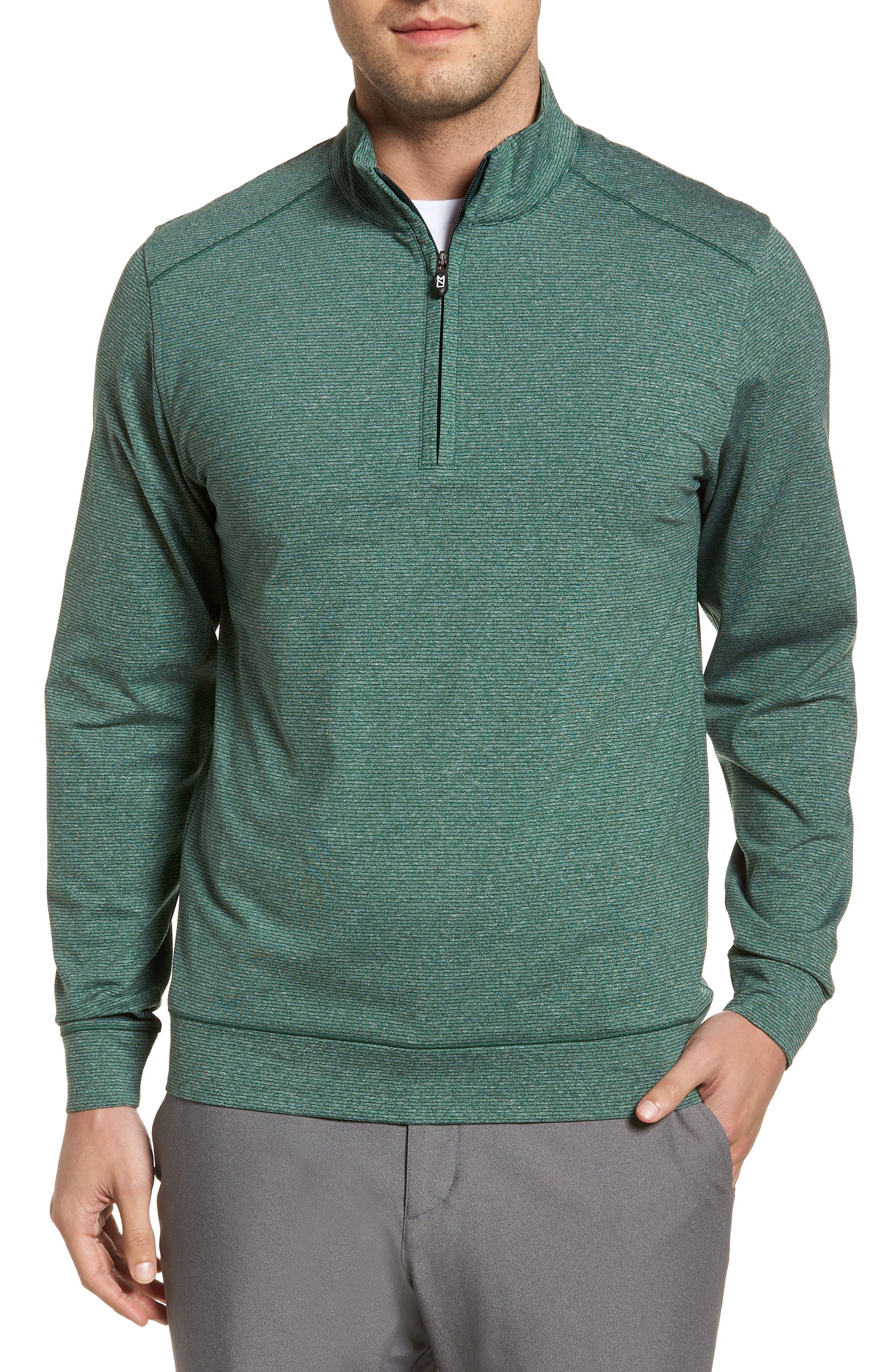 CUTTER & BUCK, Shoreline Classic Fit Half Zip Pullover, Main thumbnail 1, color, HUNTER HEATHER