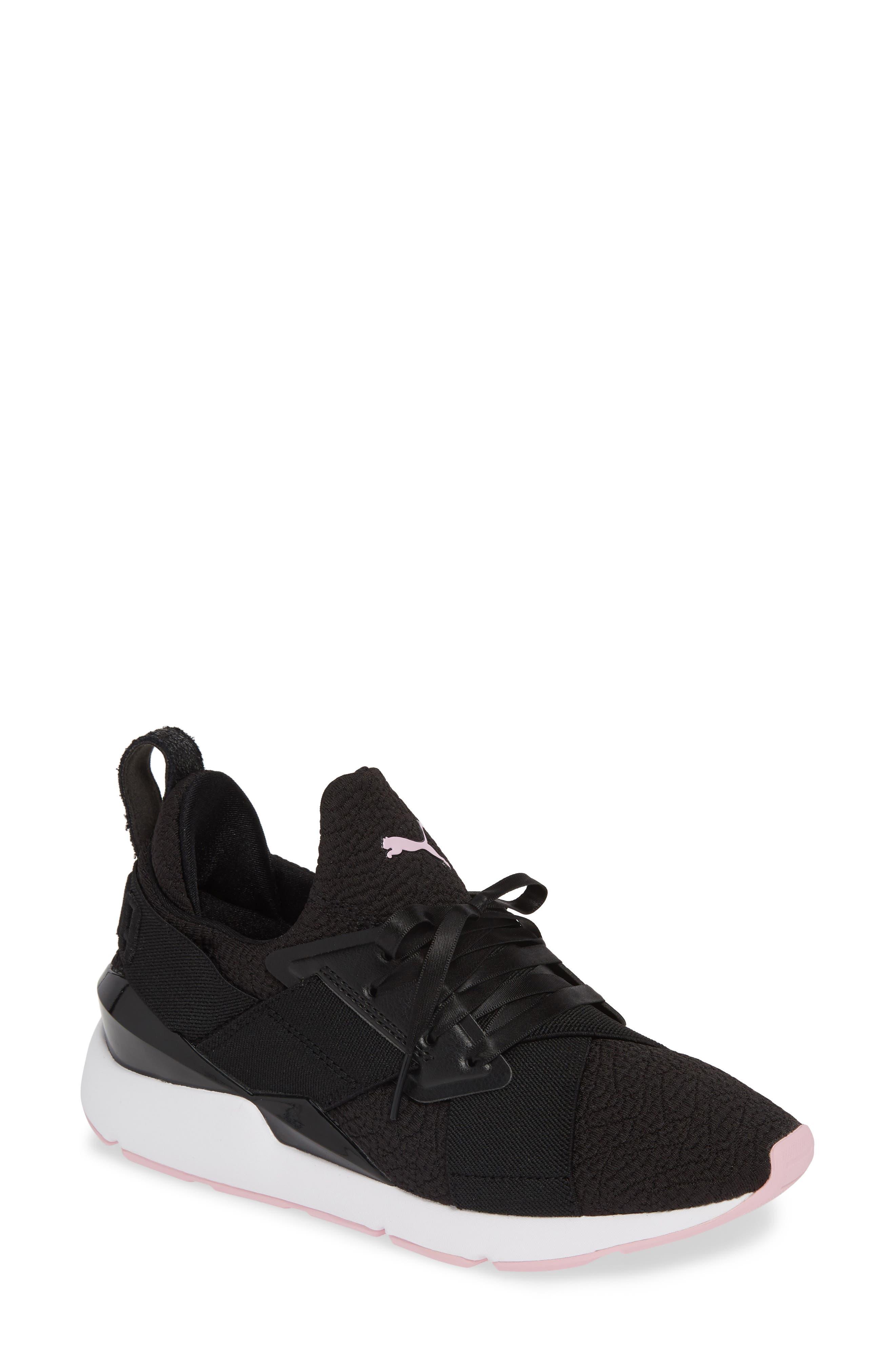 PUMA, Muse TZ Sneaker, Main thumbnail 1, color, BLACK/ PALE PINK