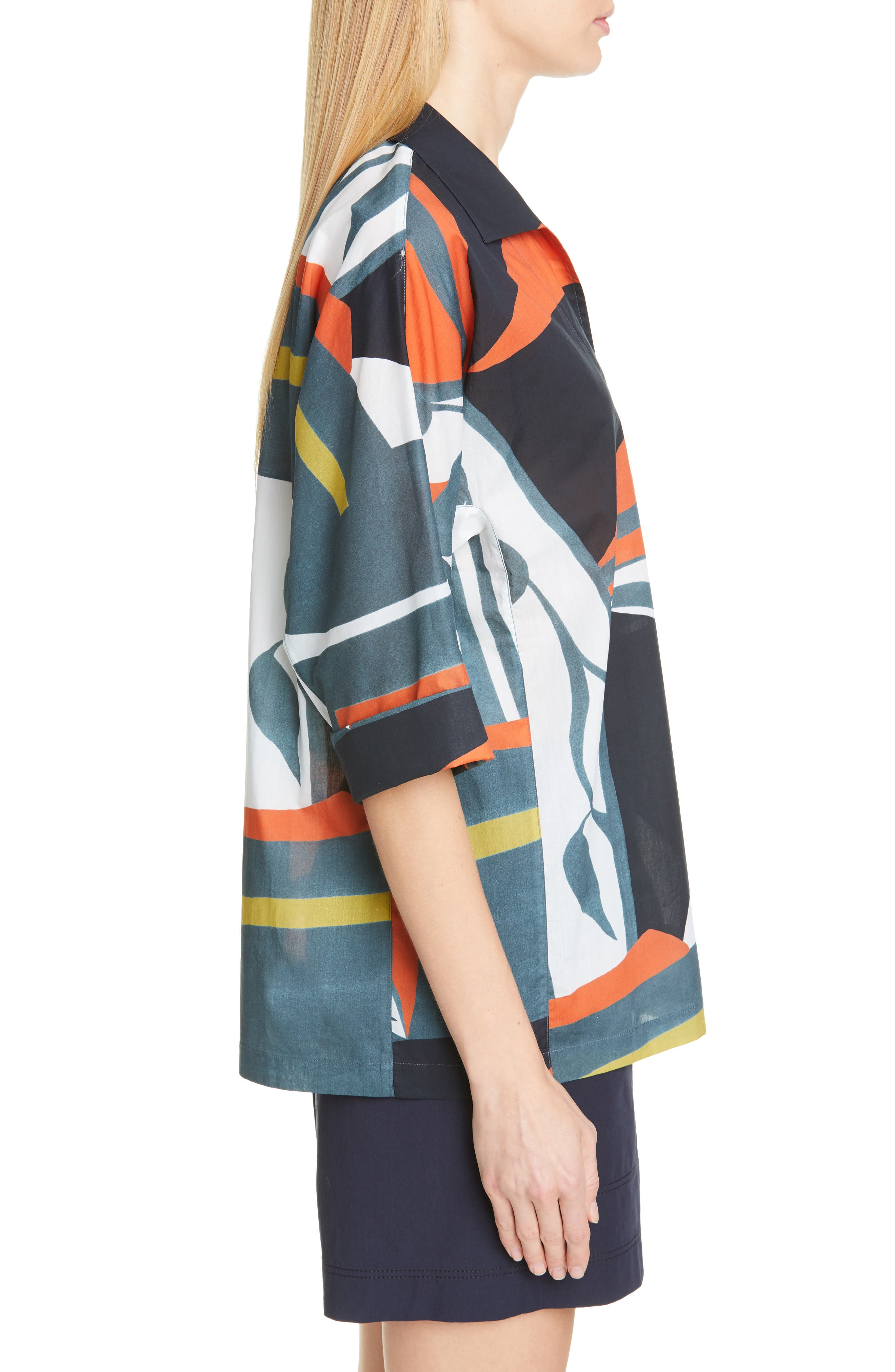 LAFAYETTE 148 NEW YORK, Nicole Artisan Abstract Print Top, Alternate thumbnail 4, color, ATLANTIS TEAL MULTI
