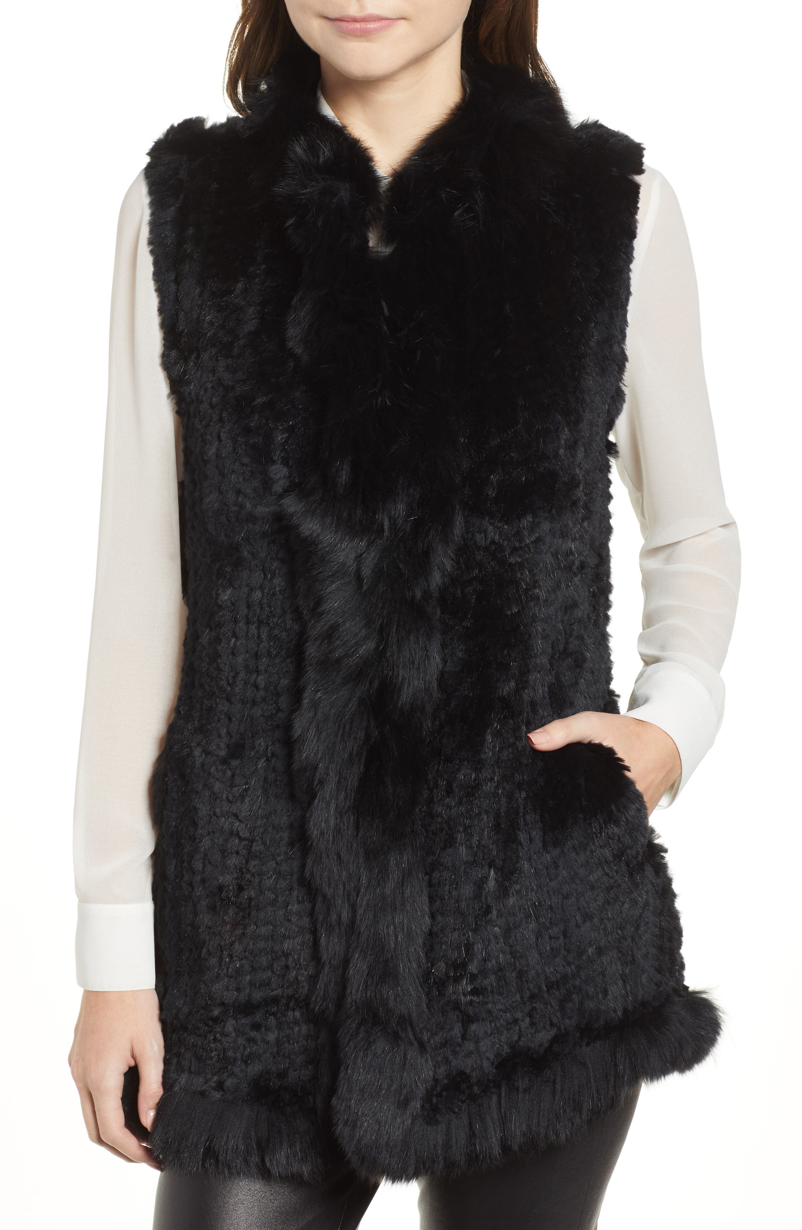 LOVE TOKEN, Genuine Rabbit Fur Vest with Genuine Fox Fur Trim, Alternate thumbnail 5, color, 001