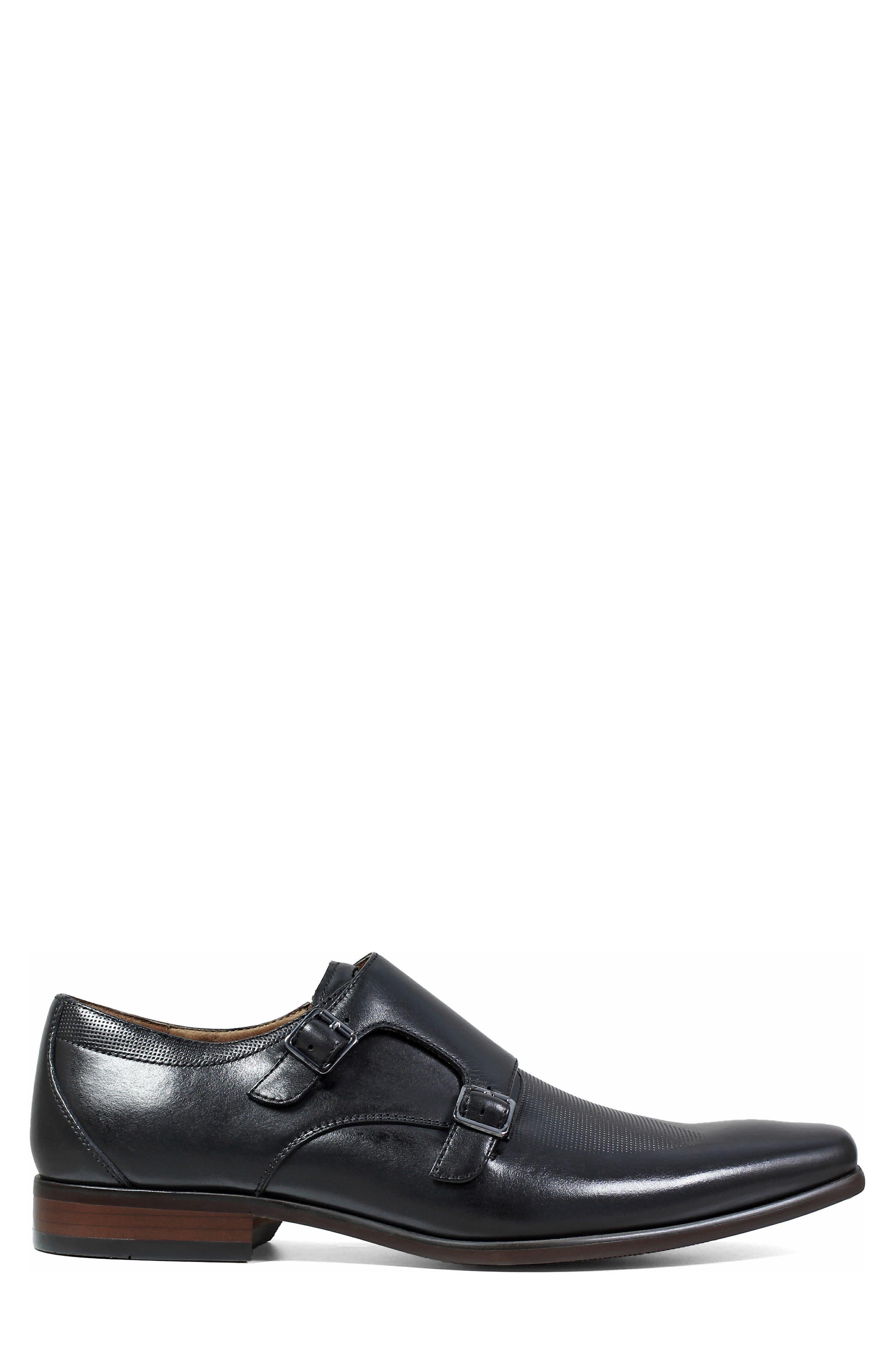 FLORSHEIM, Postino Textured Double Strap Monk Shoe, Alternate thumbnail 3, color, BLACK LEATHER