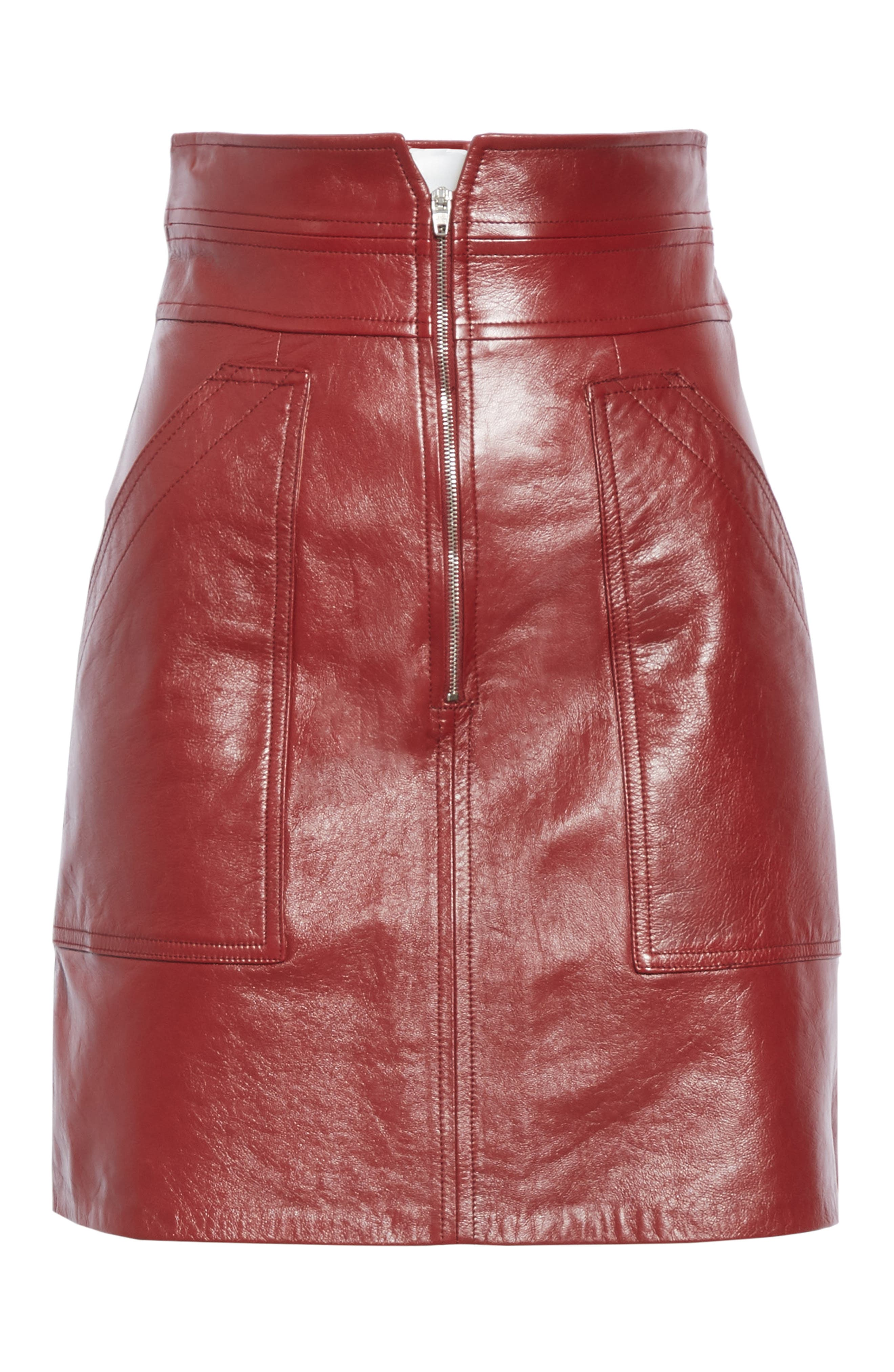 REBECCA TAYLOR, Leather Skirt, Alternate thumbnail 6, color, SPICE