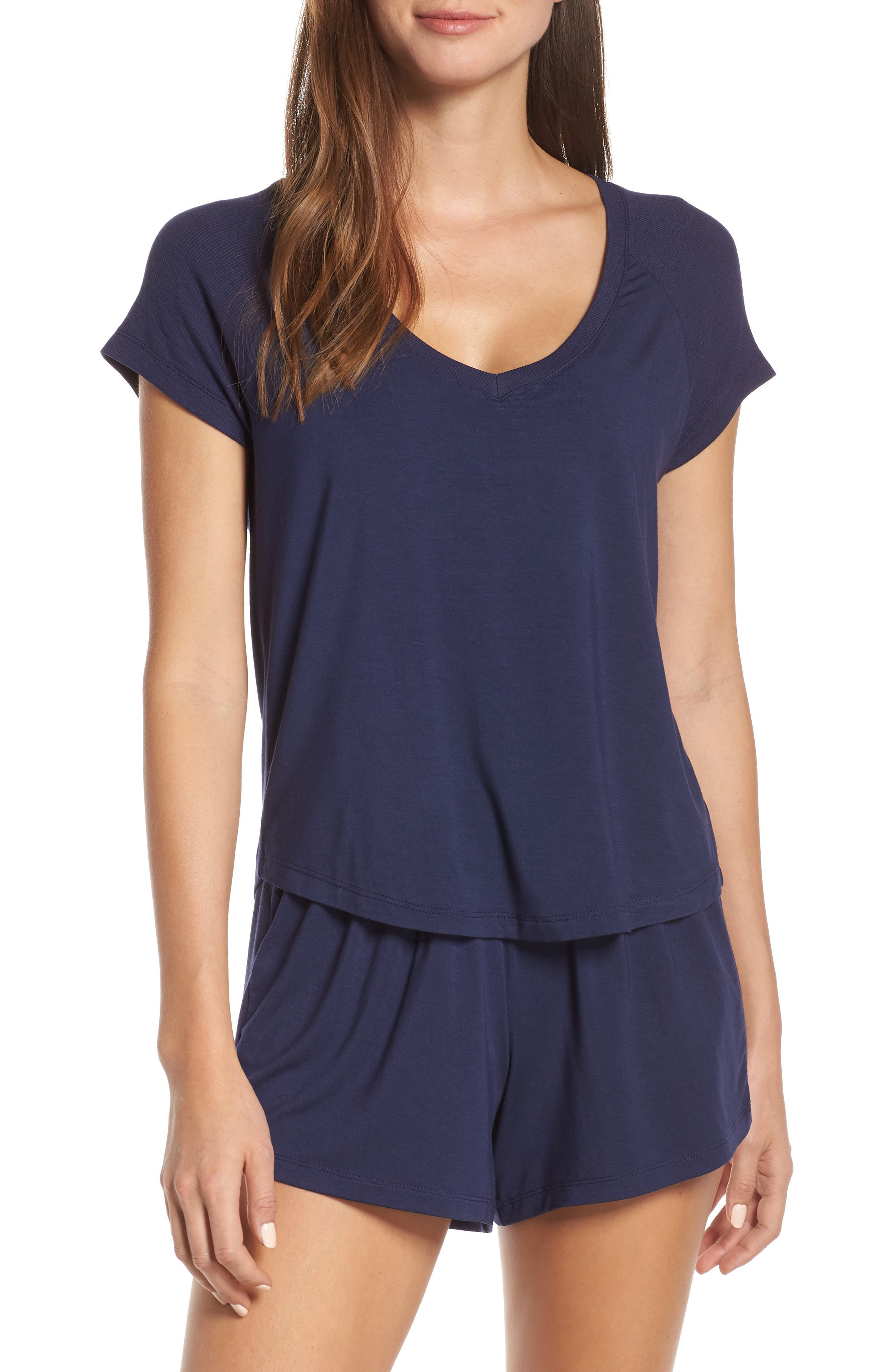 NORDSTROM LINGERIE Breathe Rib Mix Short Pajamas, Main, color, 410