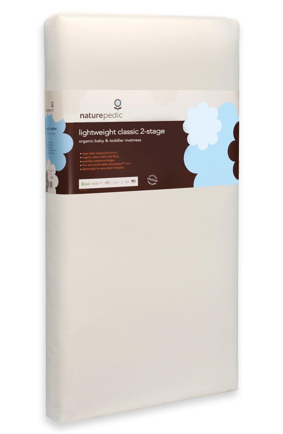 NATUREPEDIC, Lightweight Organic Cotton Classic 2-Stage Crib Mattress, Alternate thumbnail 3, color, WHITE