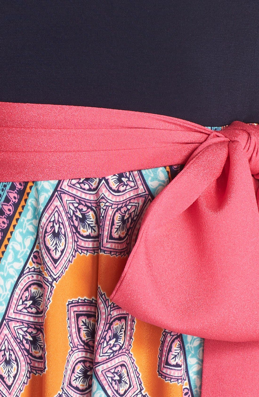 ELIZA J, Scarf Print Jersey & Crêpe de Chine Maxi Dress, Alternate thumbnail 12, color, PINK