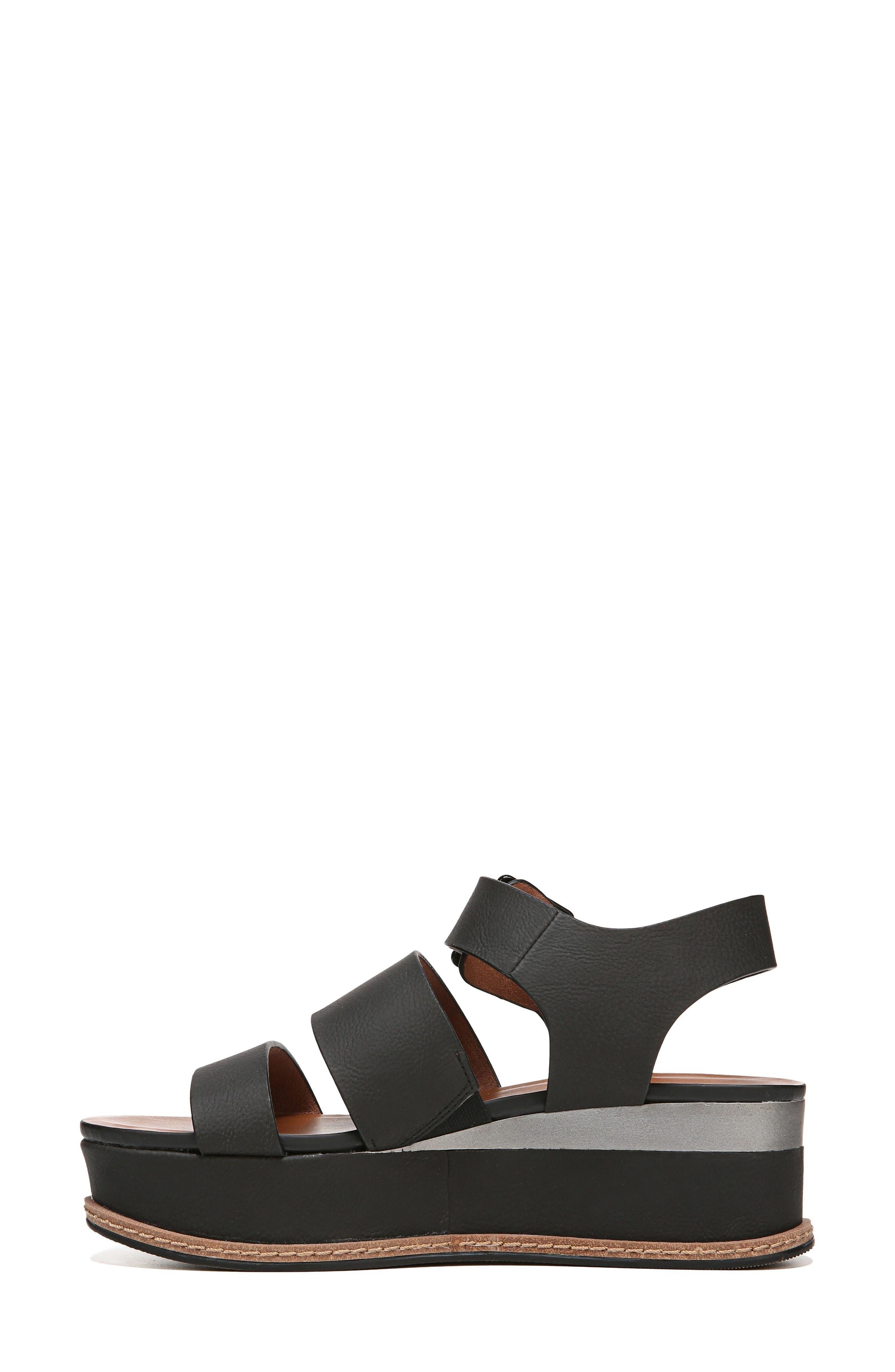 NATURALIZER, Billie Platform Sandal, Alternate thumbnail 3, color, BLACK FAUX NUBUCK LEATHER
