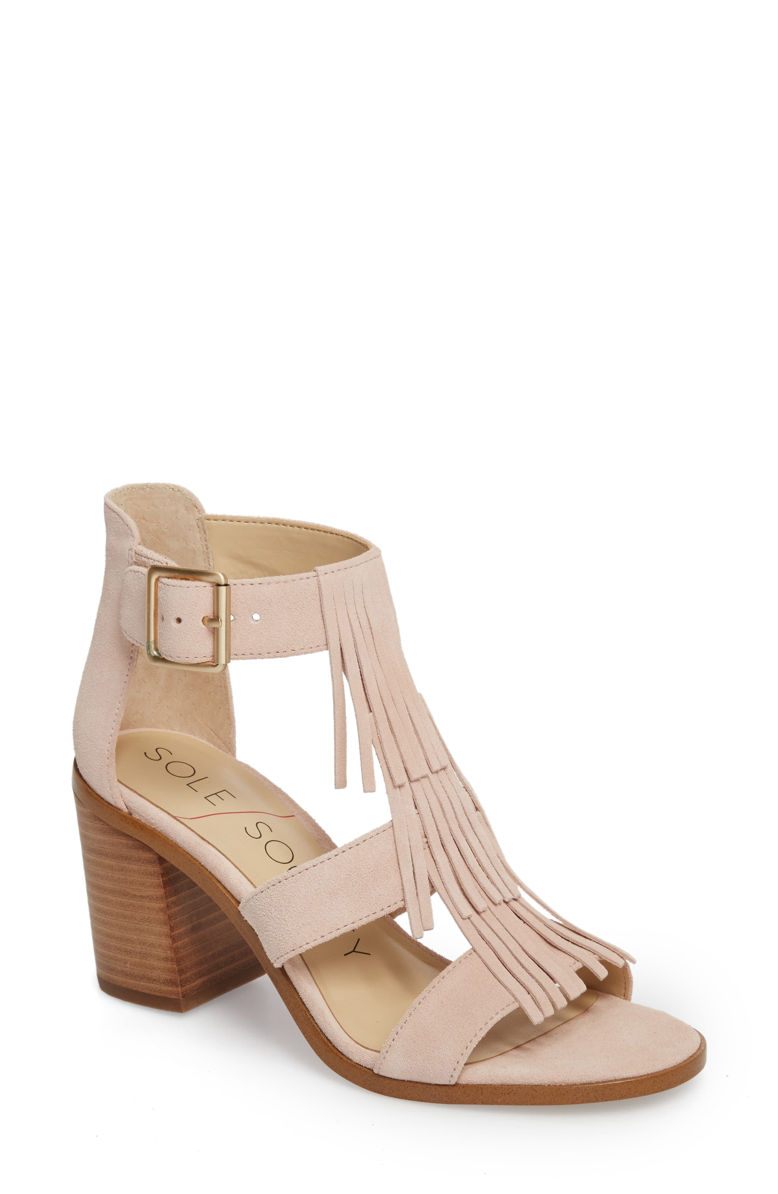 SOLE SOCIETY, 'Delilah' Fringe Sandal, Main thumbnail 1, color, SPRING BLUSH COW SUEDE