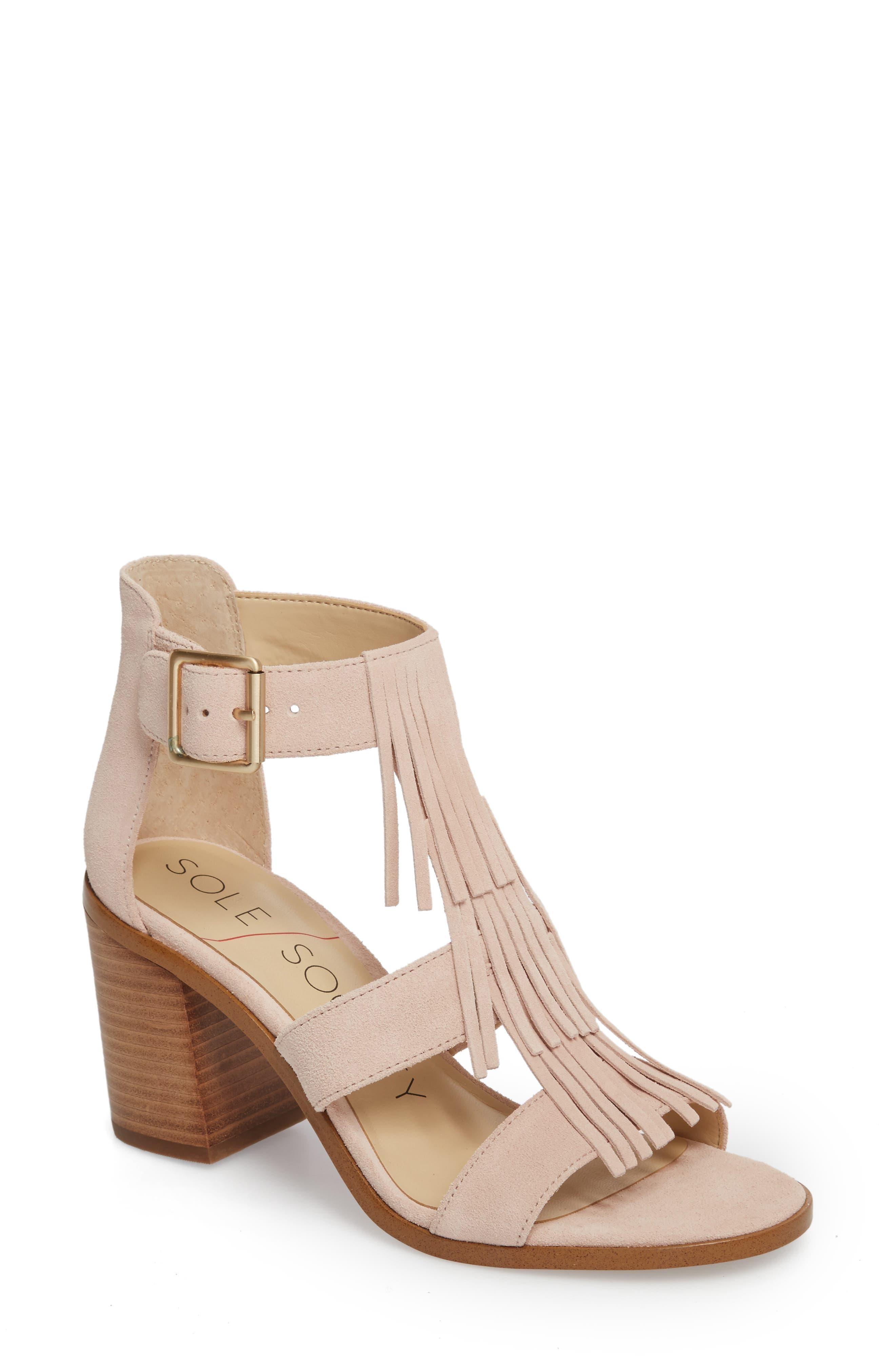 SOLE SOCIETY 'Delilah' Fringe Sandal, Main, color, SPRING BLUSH COW SUEDE