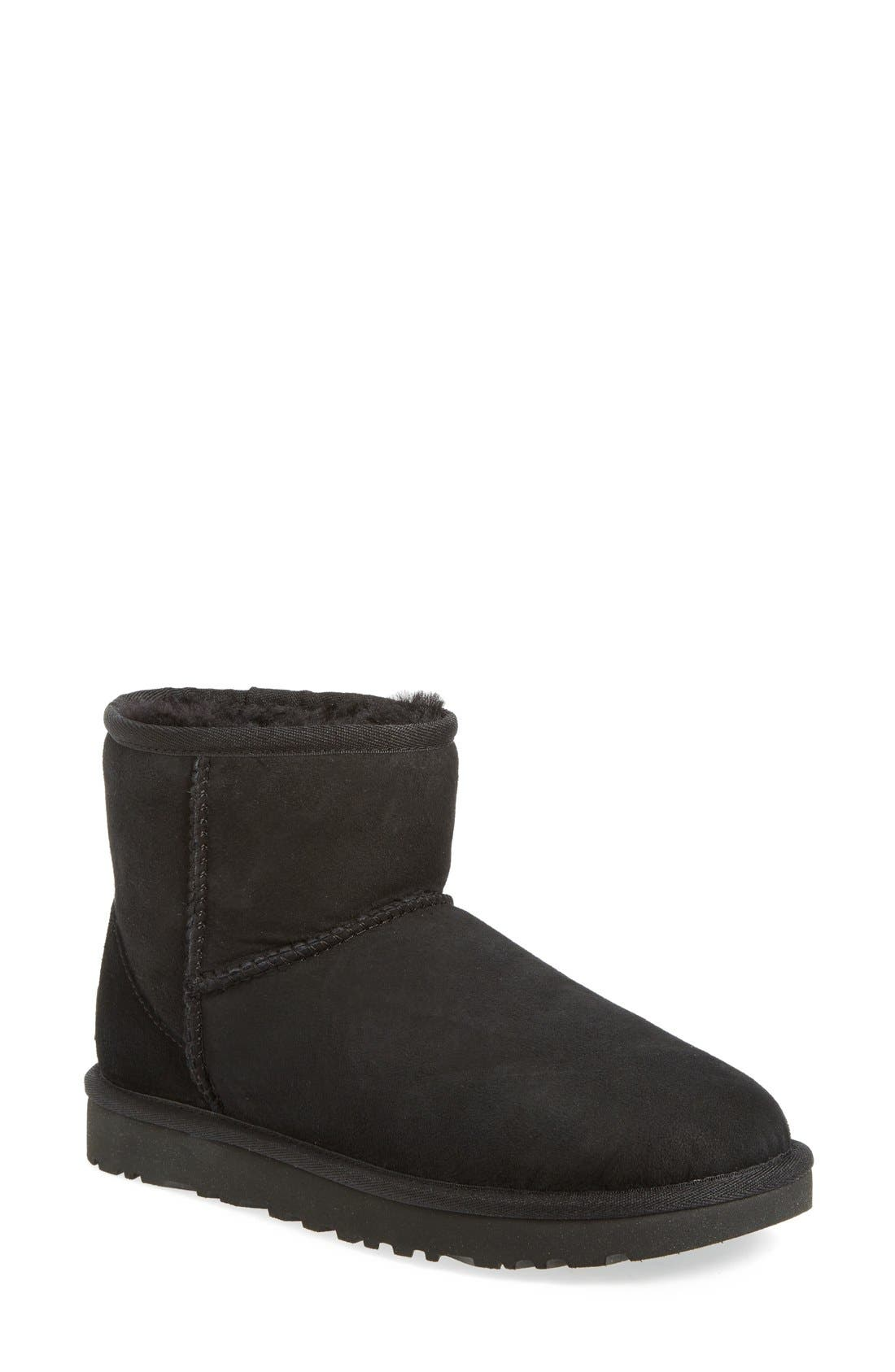 UGG<SUP>®</SUP> Classic Mini II Genuine Shearling Lined Boot, Main, color, BLACK SUEDE