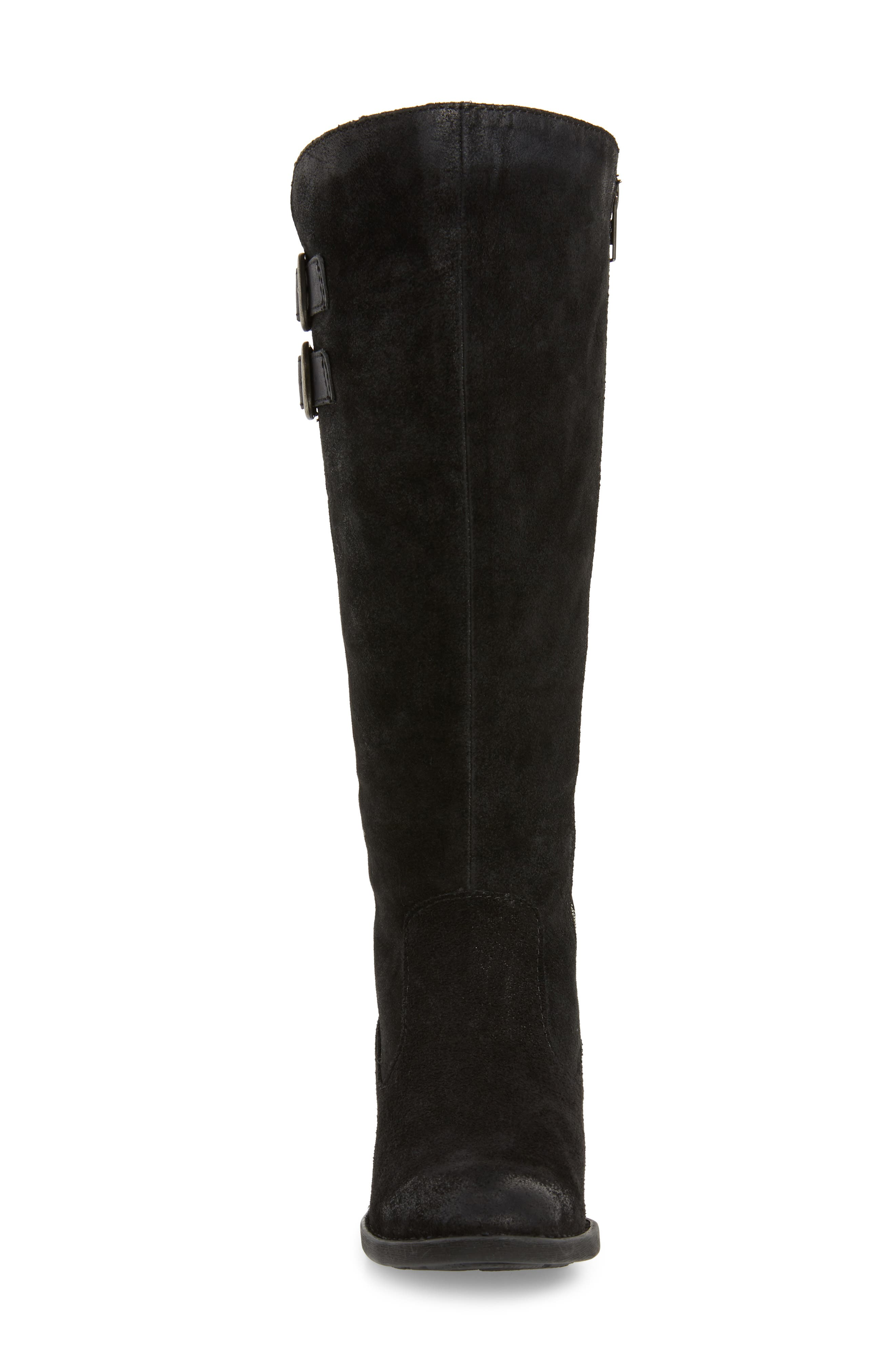 BØRN, Basil Knee High Boot, Alternate thumbnail 4, color, BLACK DISTRESSED LEATHER