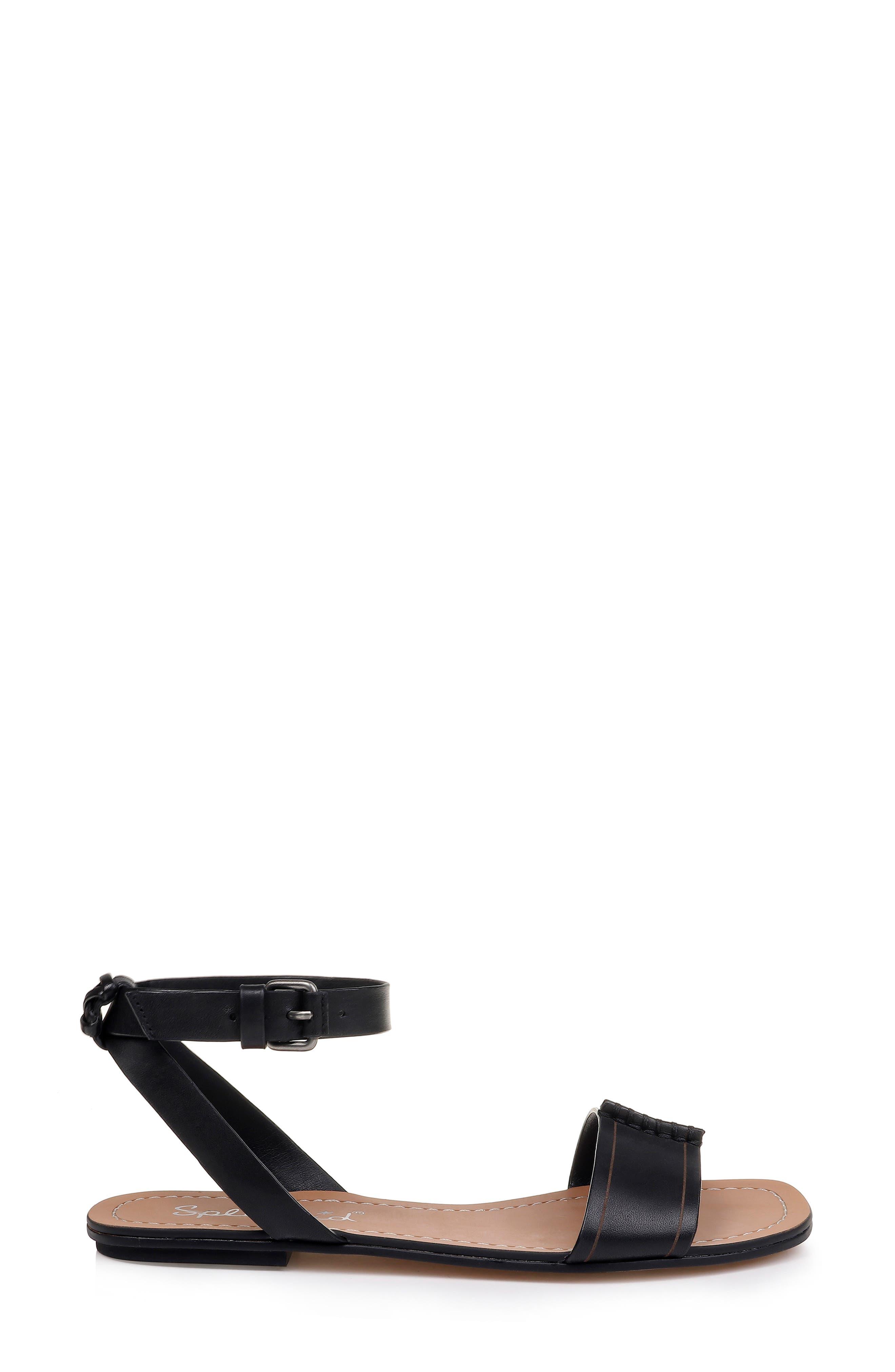 SPLENDID, Tabitha Ankle Strap Flat Sandal, Alternate thumbnail 3, color, BLACK LEATHER