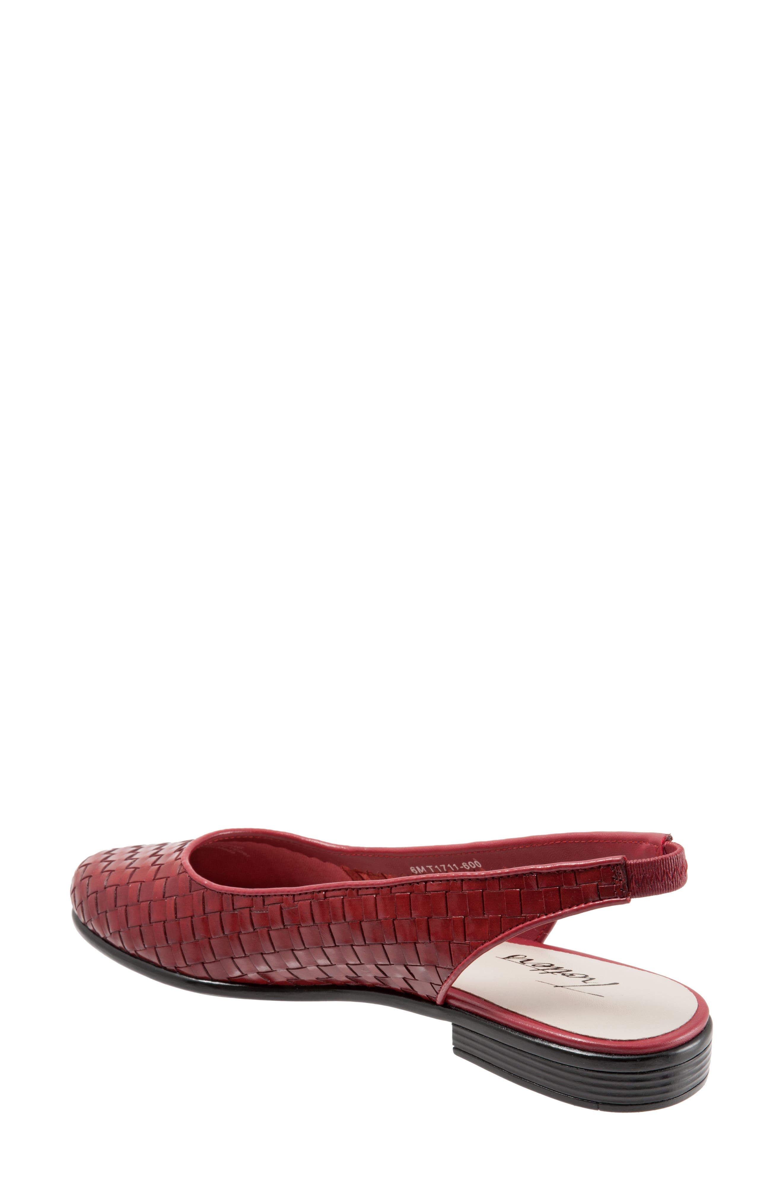 TROTTERS, Lucy Slingback Flat, Alternate thumbnail 7, color, RED LEATHER
