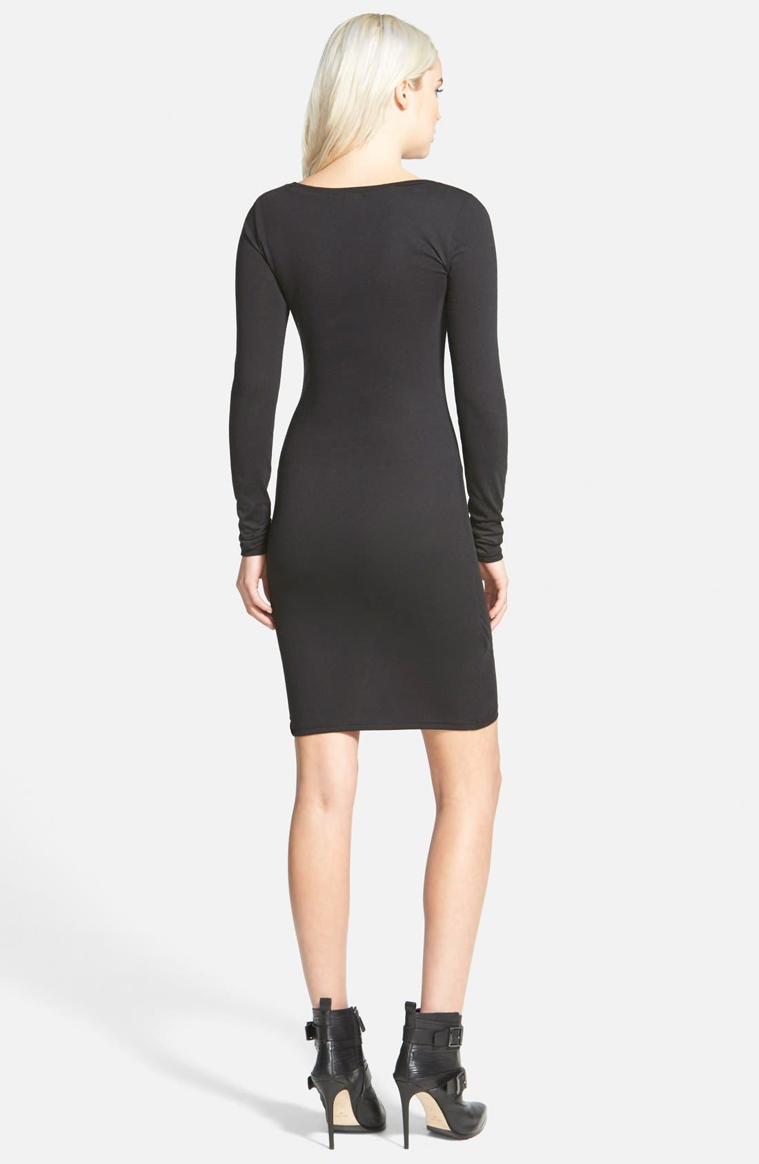 LEITH, Ruched Long Sleeve Dress, Alternate thumbnail 8, color, 001