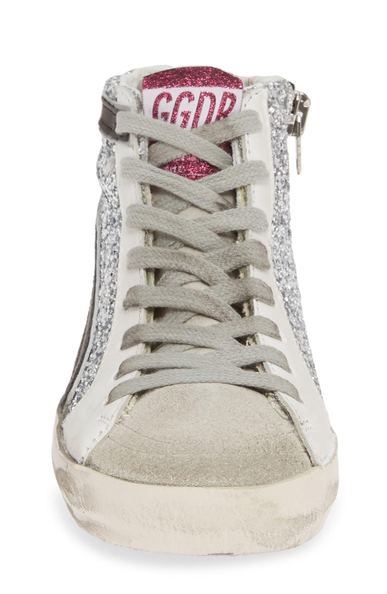 GOLDEN GOOSE, Slide Glitter High Top Sneaker, Alternate thumbnail 4, color, SILVER GLITTER/ BLACK SLIDE